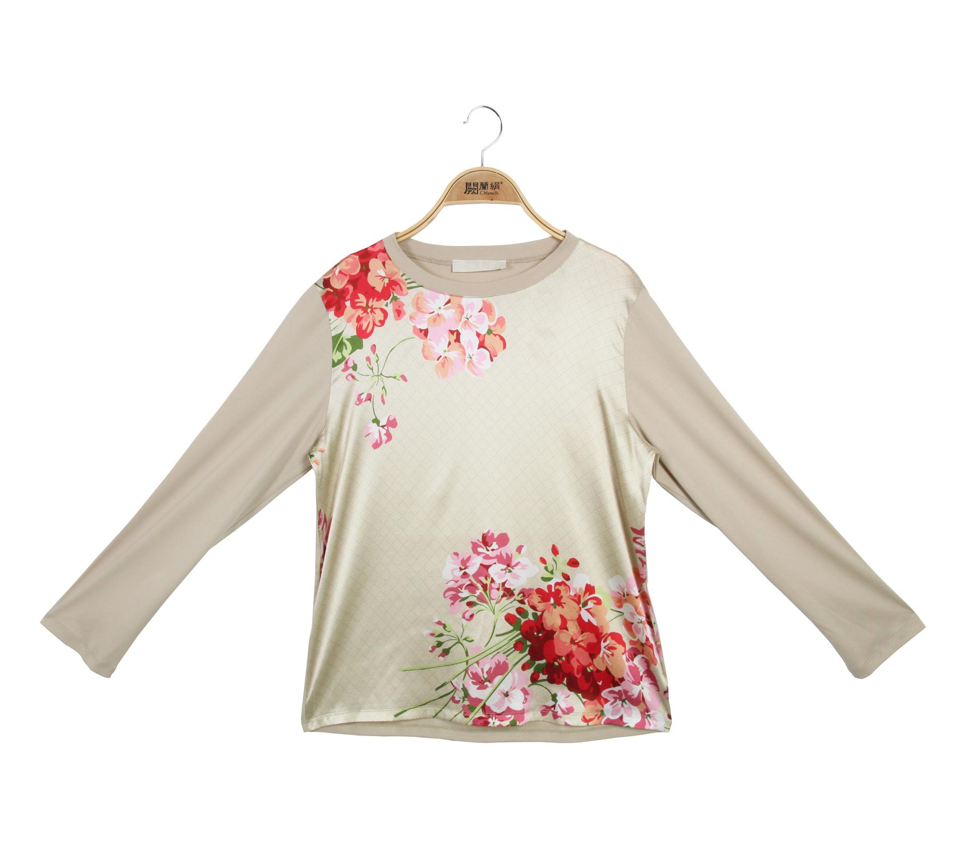 闕蘭絹浪漫花朵蠶絲長袖上 - 卡其色 - 6636