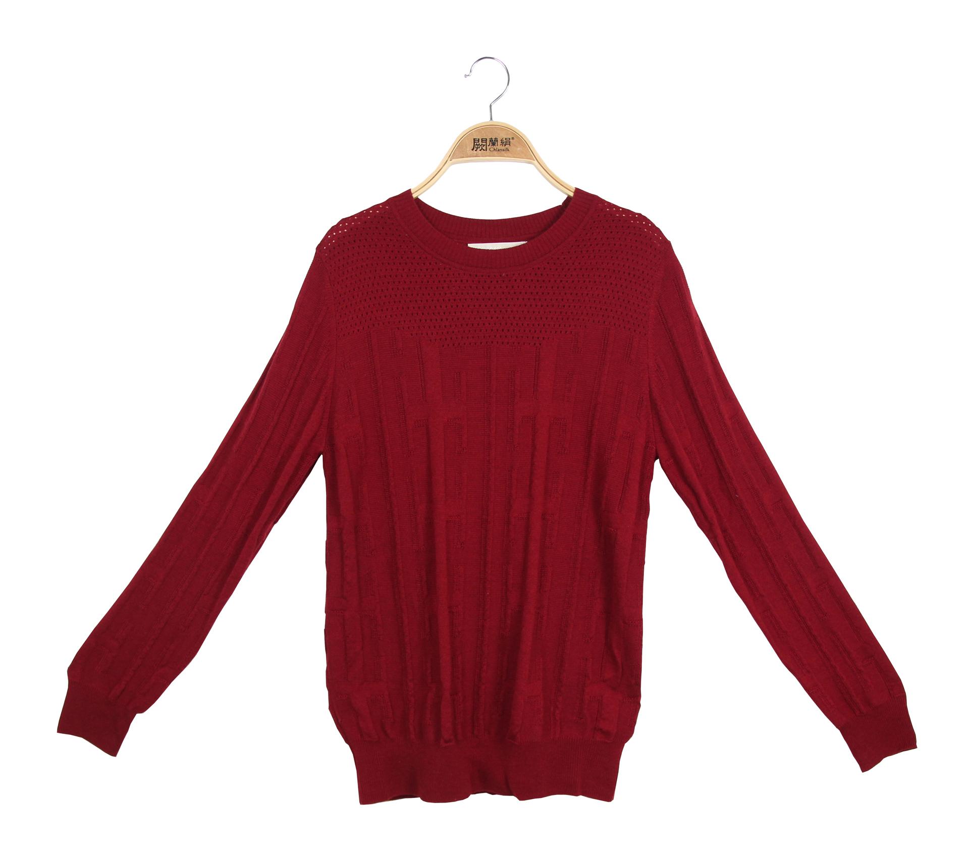 闕蘭絹極簡舒適羊毛蠶絲針織長袖上衣 - 酒紅色 - 6638