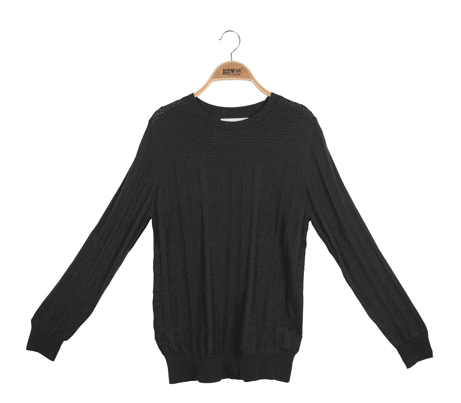 闕蘭絹極簡舒適羊毛蠶絲針織長袖上衣 - 黑色 - 6638