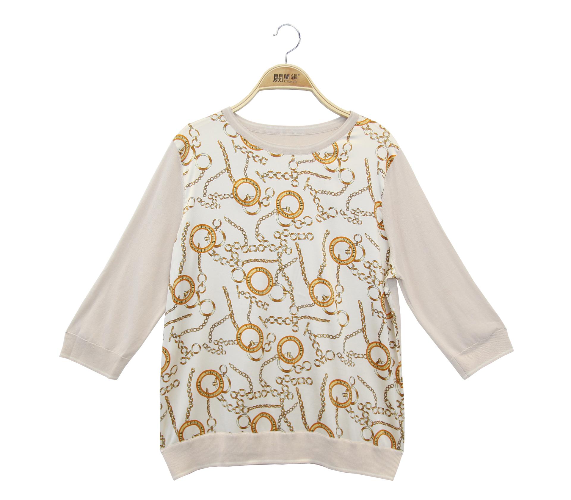 闕蘭絹拼接滑布鎖鏈蠶絲六分袖針織上衣 - 米色 - 6643