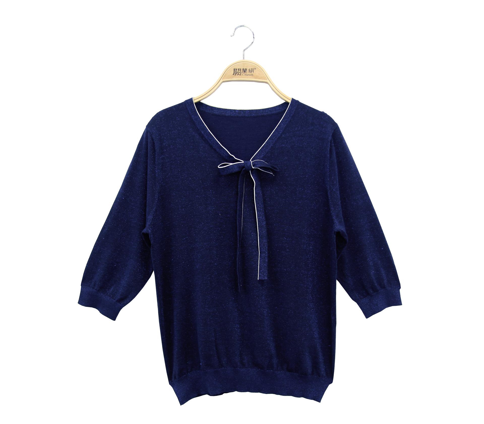 闕蘭絹閃亮奢華綁帶針織蠶絲六分袖上衣 - 藍色 - 6644