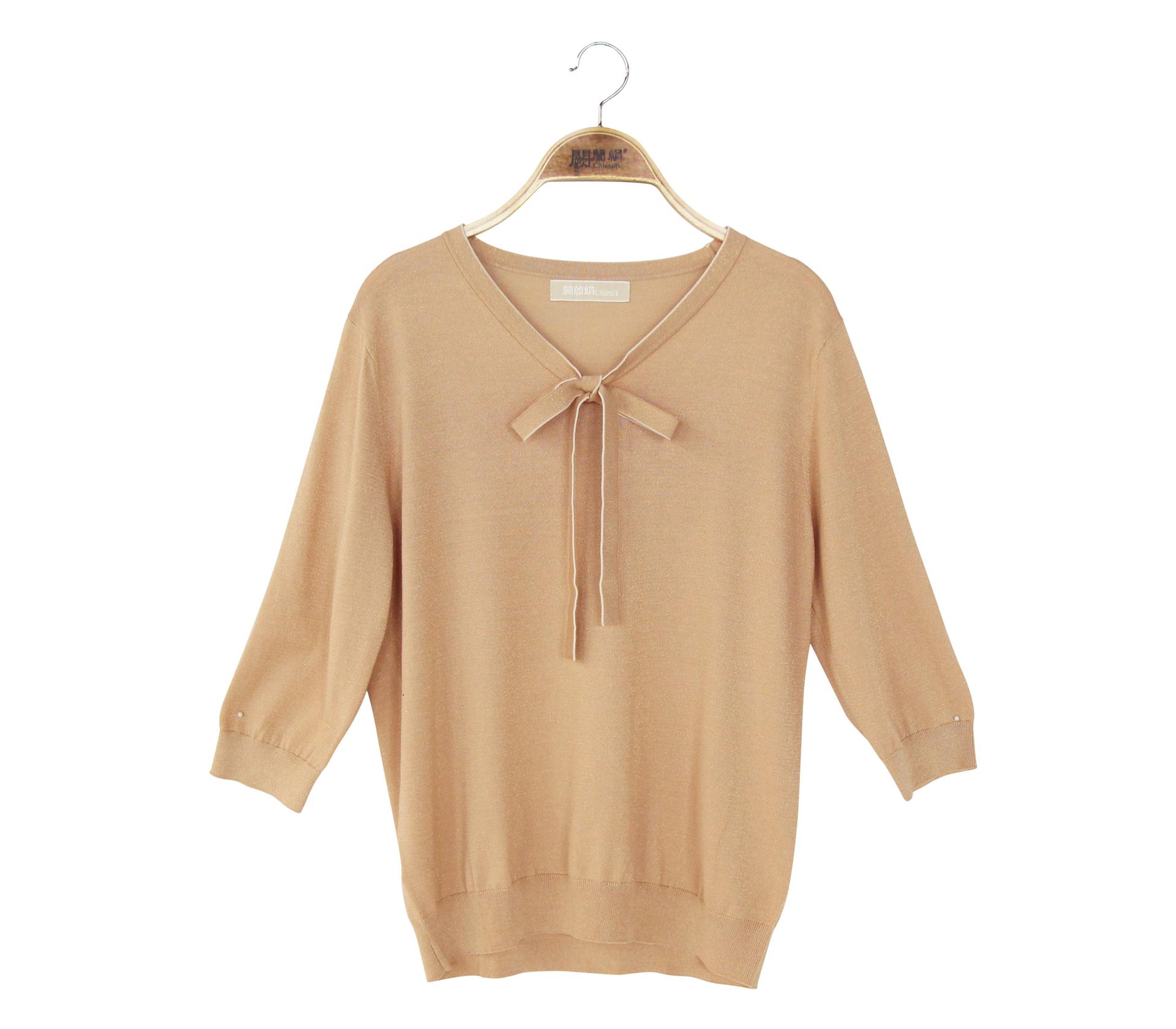 闕蘭絹閃亮奢華綁帶針織蠶絲六分袖上衣 - 米色 - 6644