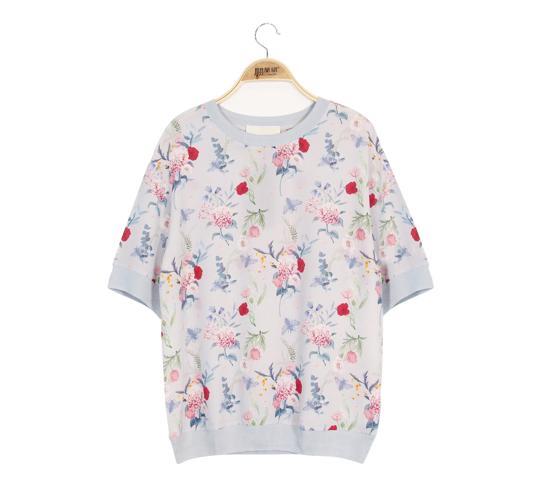 闕蘭絹唯美花朵100%蠶絲雙縐上衣 - 灰色 - 6645