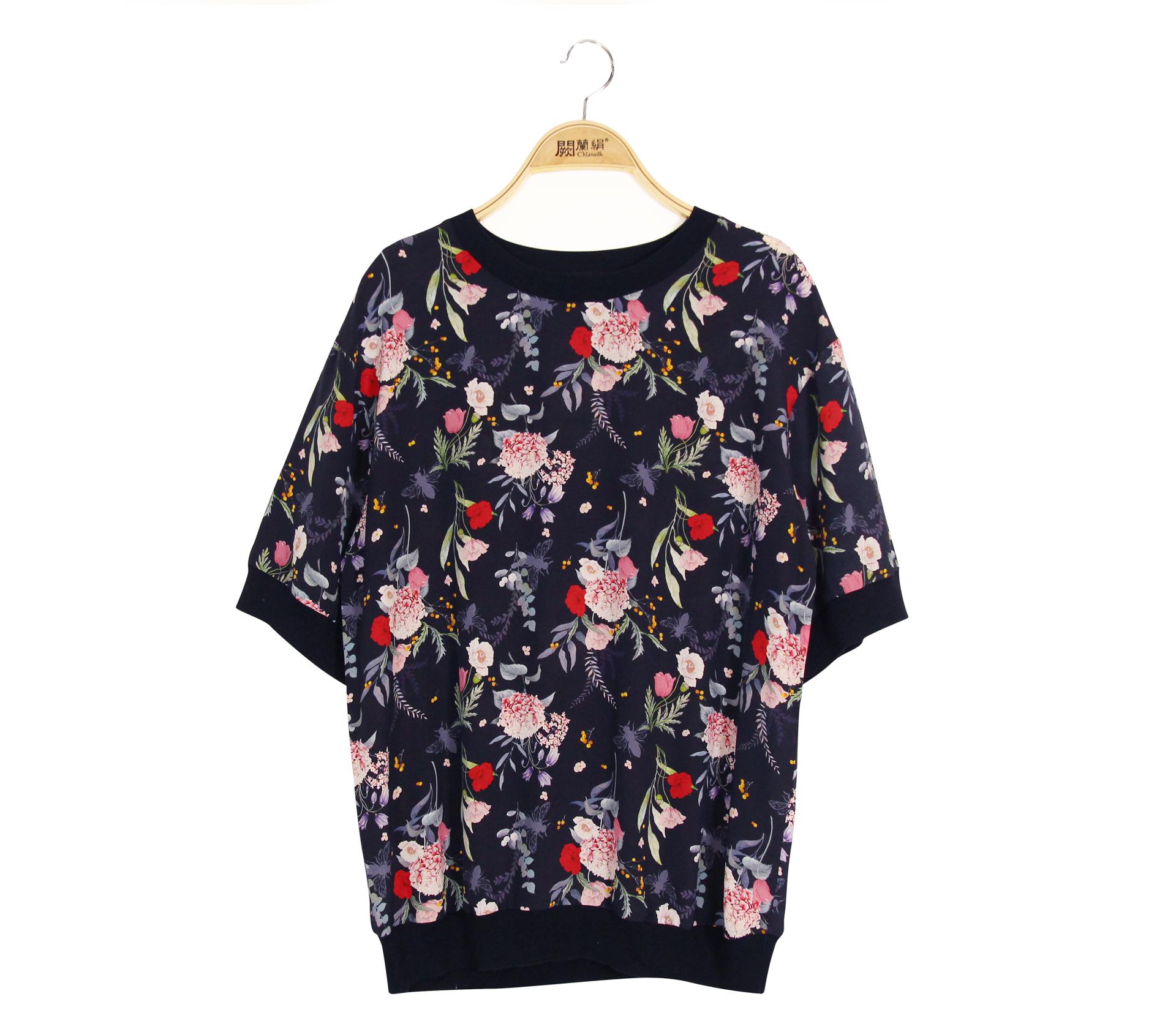 闕蘭絹唯美花朵100%蠶絲雙縐上衣 - 藏青色 - 6645