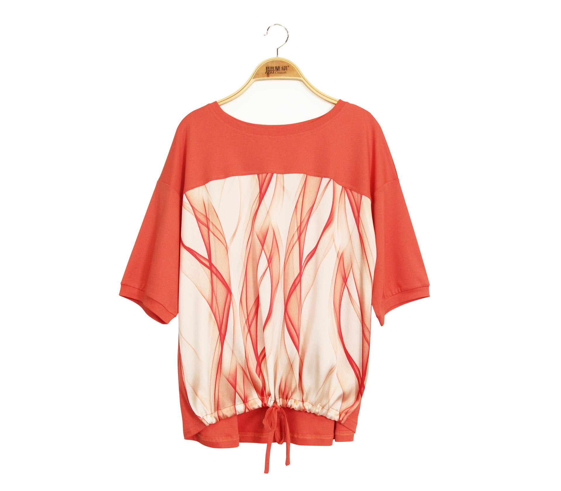 闕蘭絹拼接緞面波浪紋蠶絲下擺綁帶短袖上衣 - 橘色 - 6646