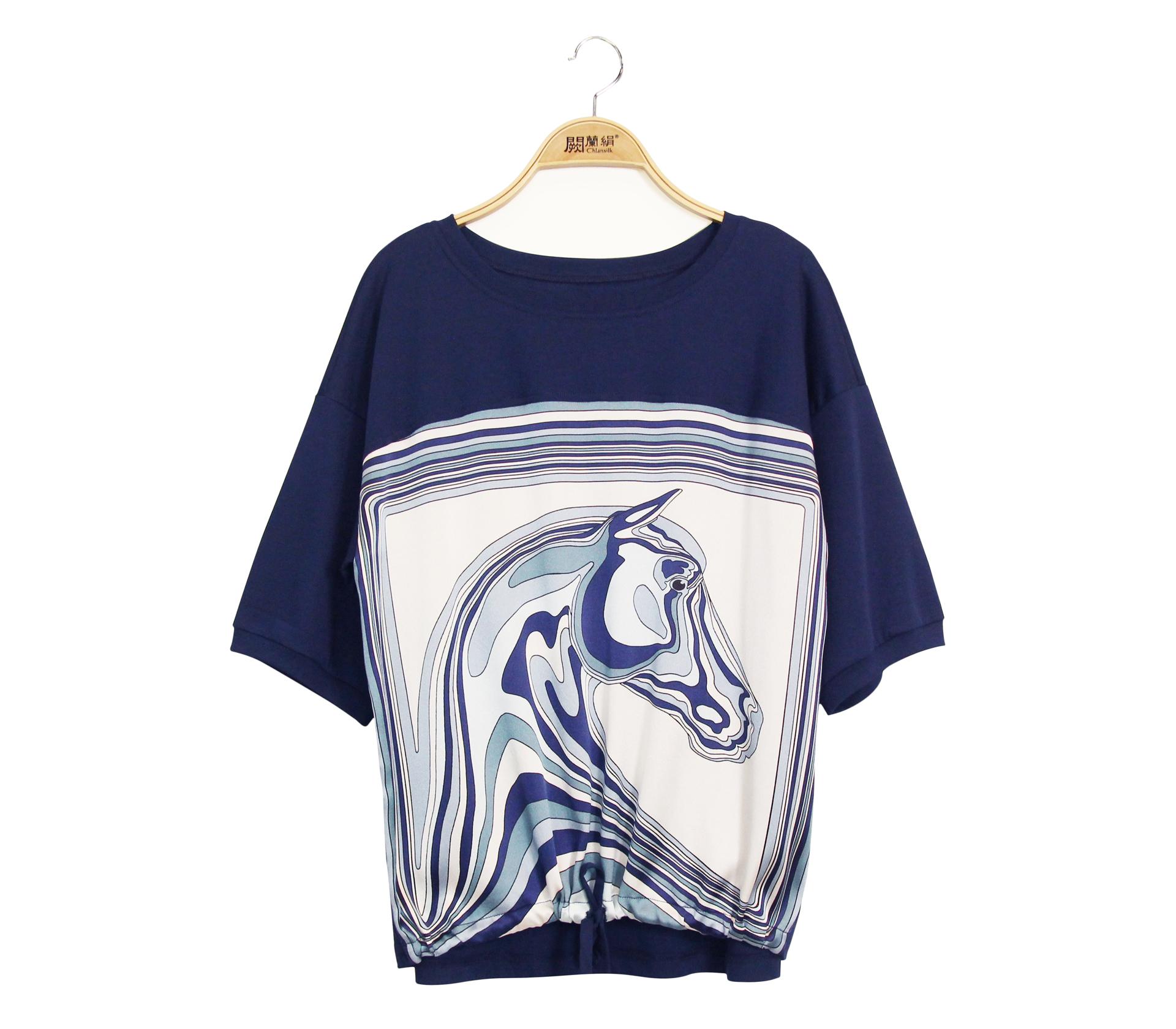 闕蘭絹拼接緞面動物造型蠶絲下擺綁帶短袖上衣 - 藍色 - 6646