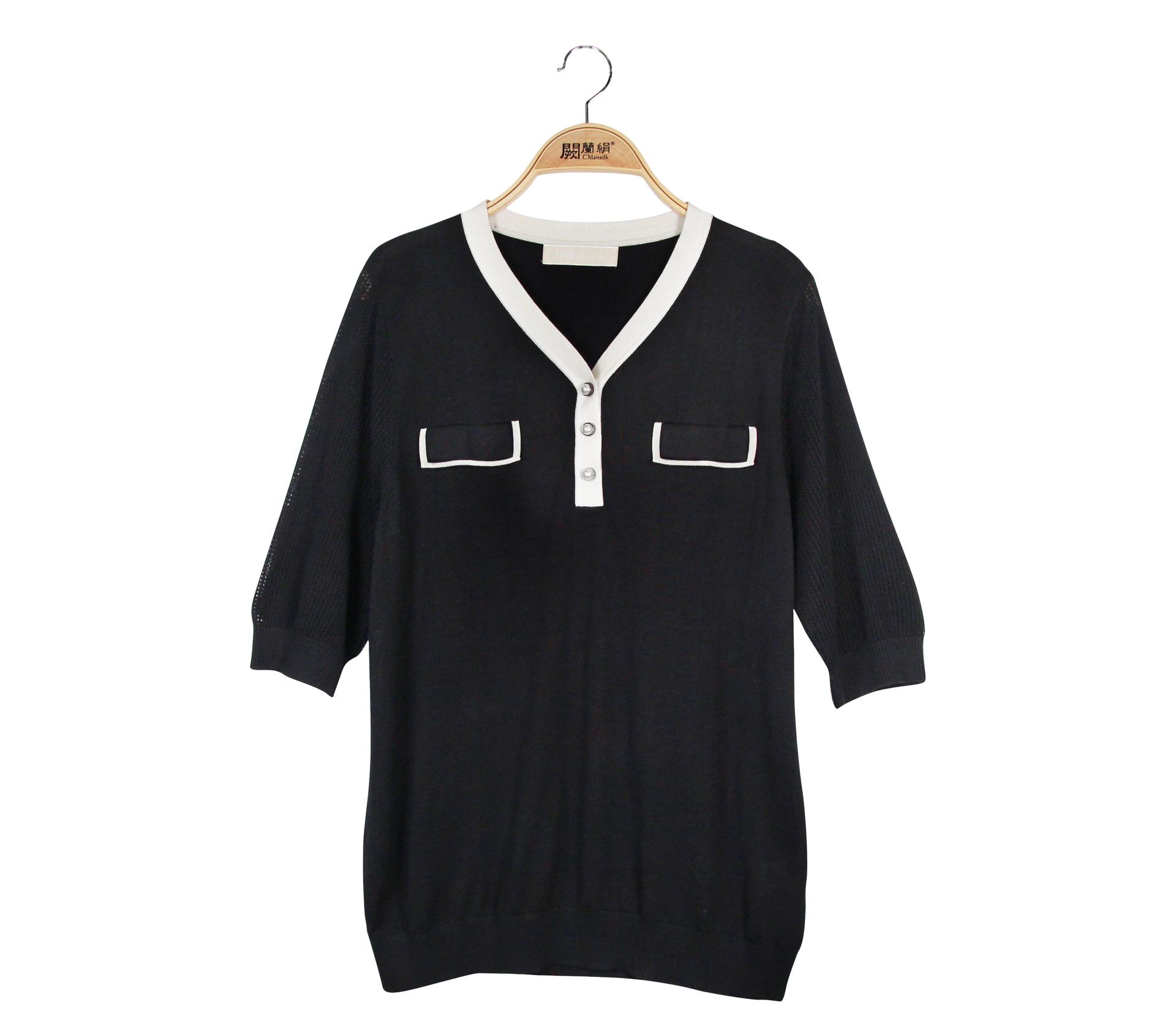闕蘭絹經典配色蠶絲針織短袖上衣 - 黑色 - 6649