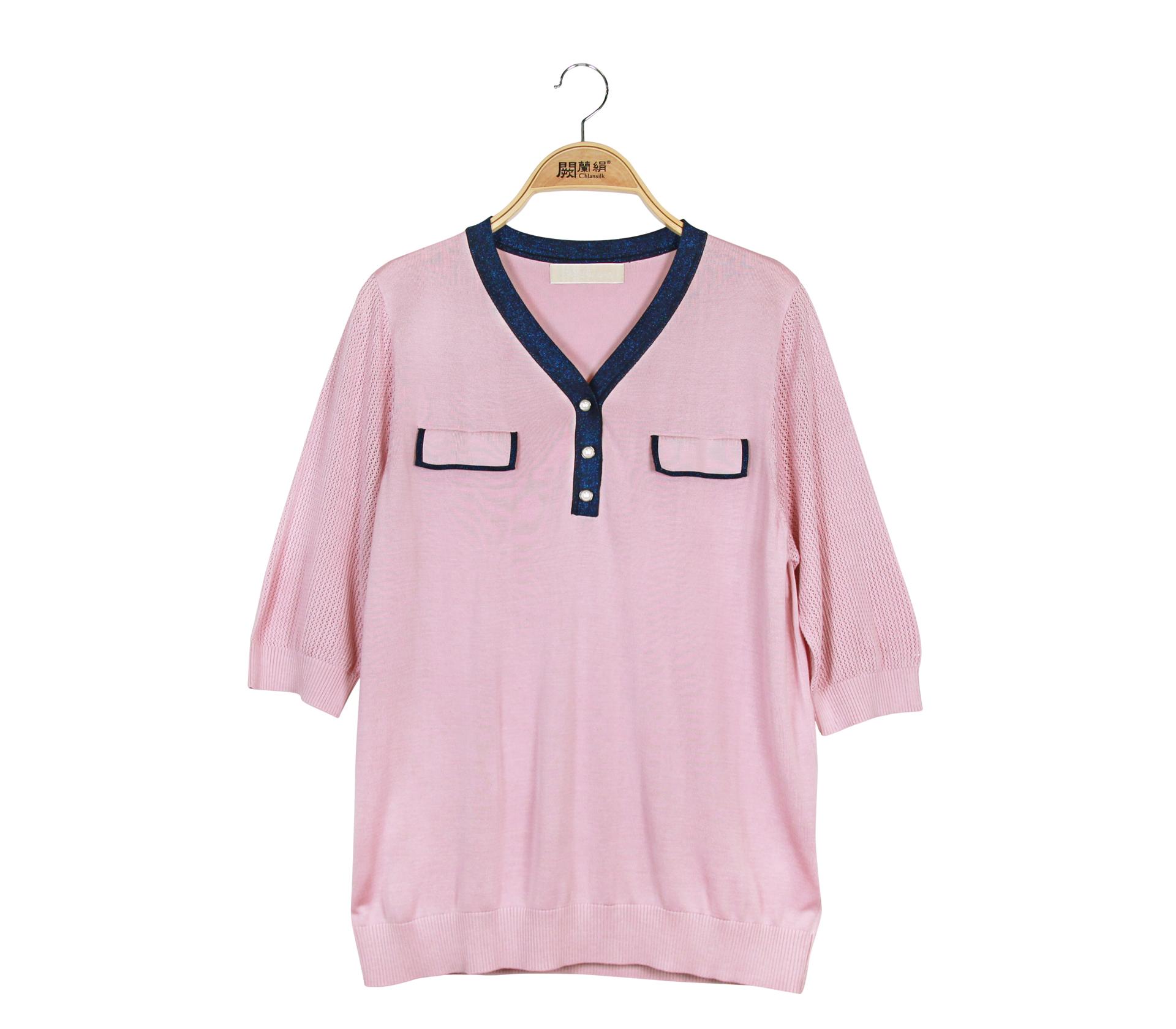 闕蘭絹經典配色蠶絲針織短袖上衣 - 粉色 - 6649