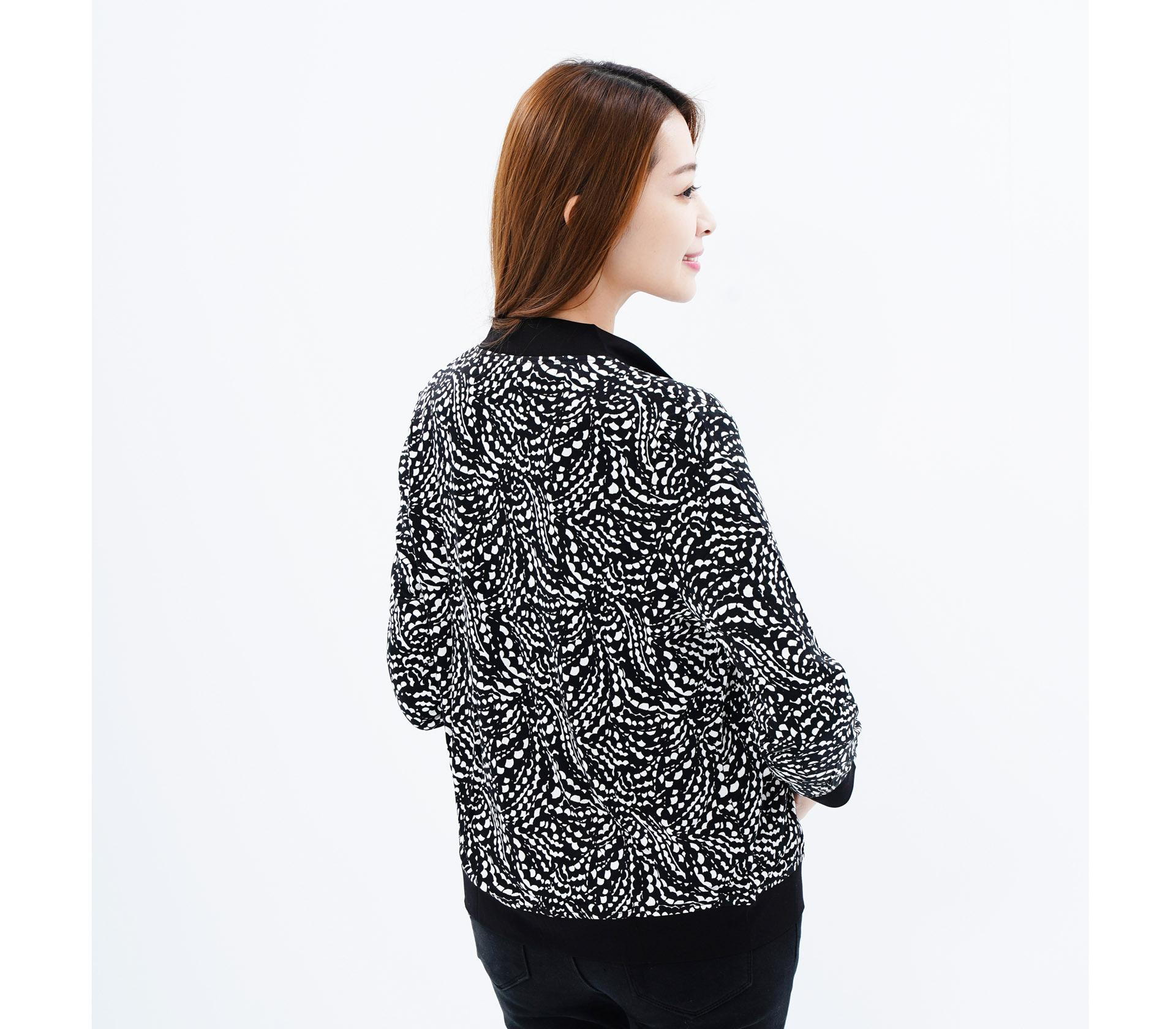 闕蘭絹舒適親膚蠶絲拉鍊外套-6688(斑點)