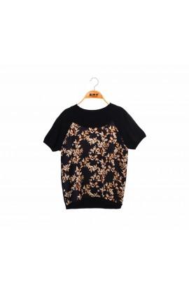 拼接滑布花朵黑色蠶絲針織短袖上衣-6768