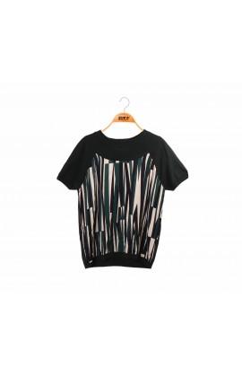 拼接滑布線條綠色蠶絲針織短袖上衣-6768