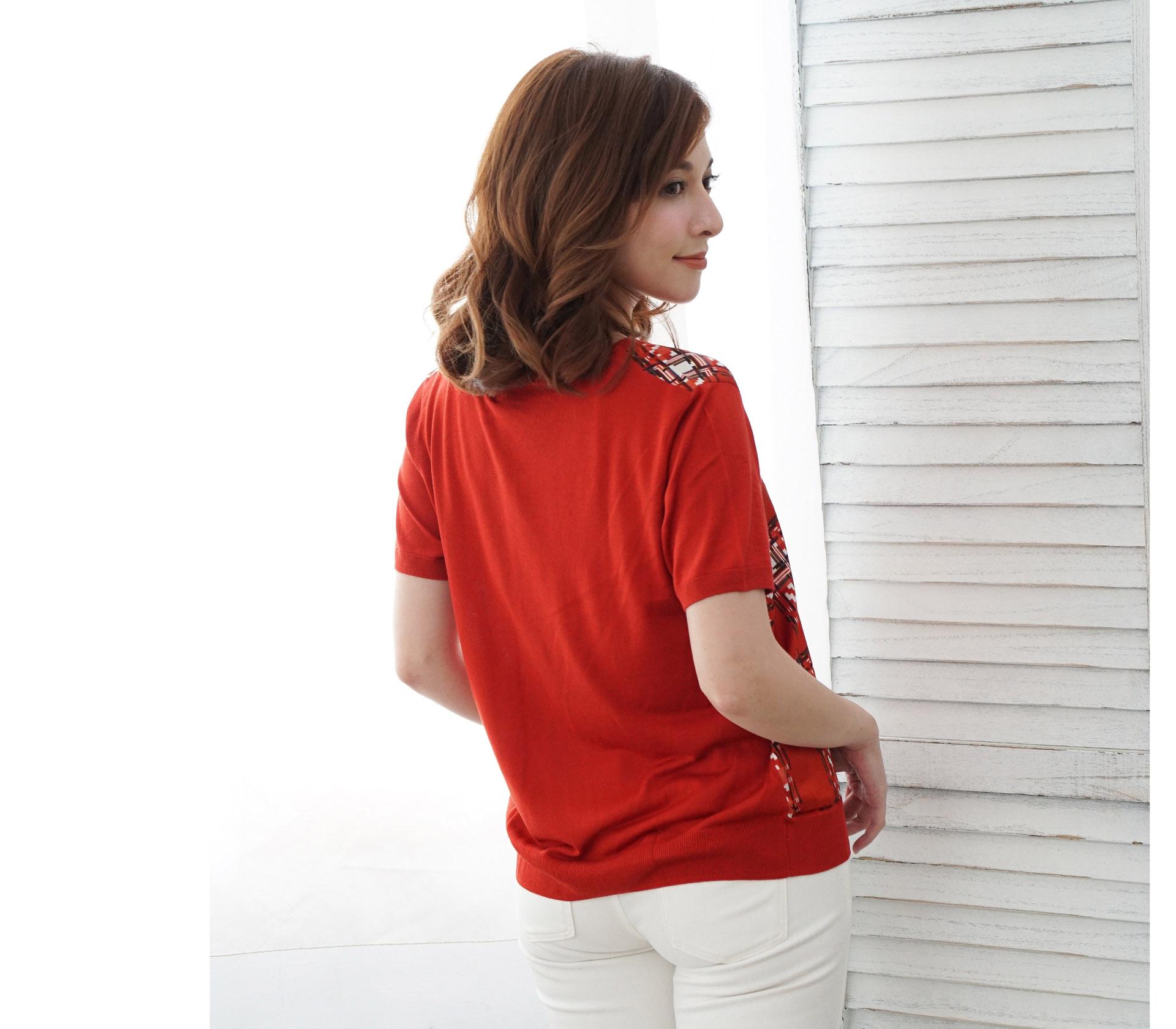 V領拼接滑布格紋米色蠶絲針織短袖上衣 – 橘 -6774