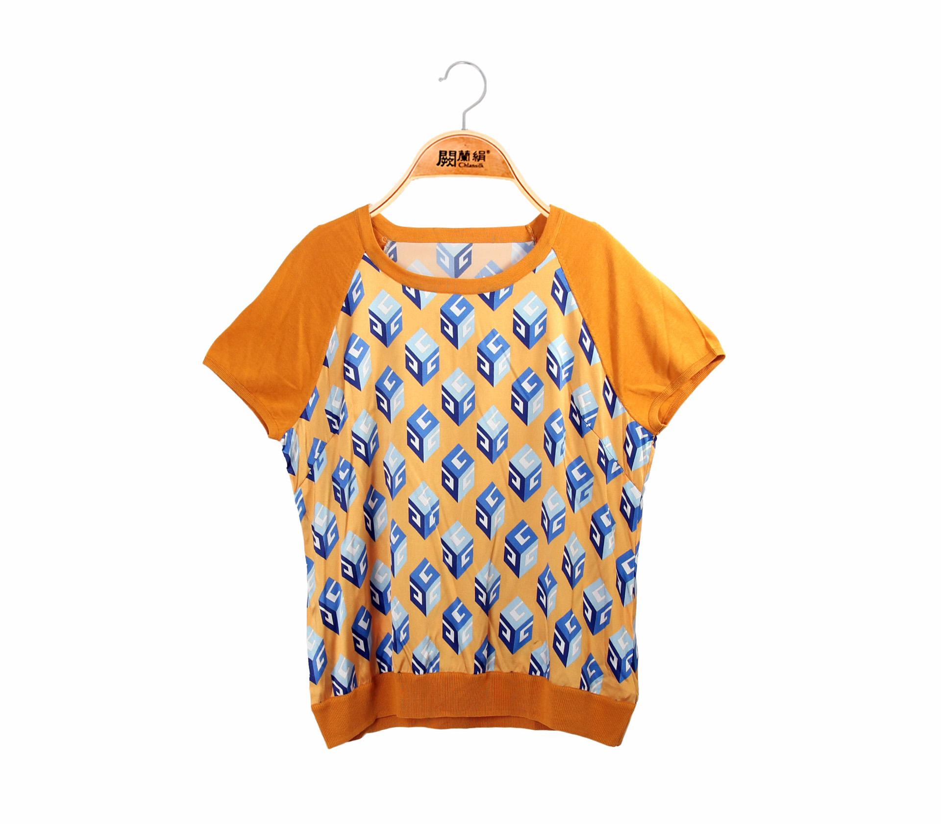 拼接滑布方塊黃色蠶絲針織短袖上衣-6792
