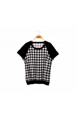 拼接滑布菱形黑色蠶絲針織短袖上衣-6792
