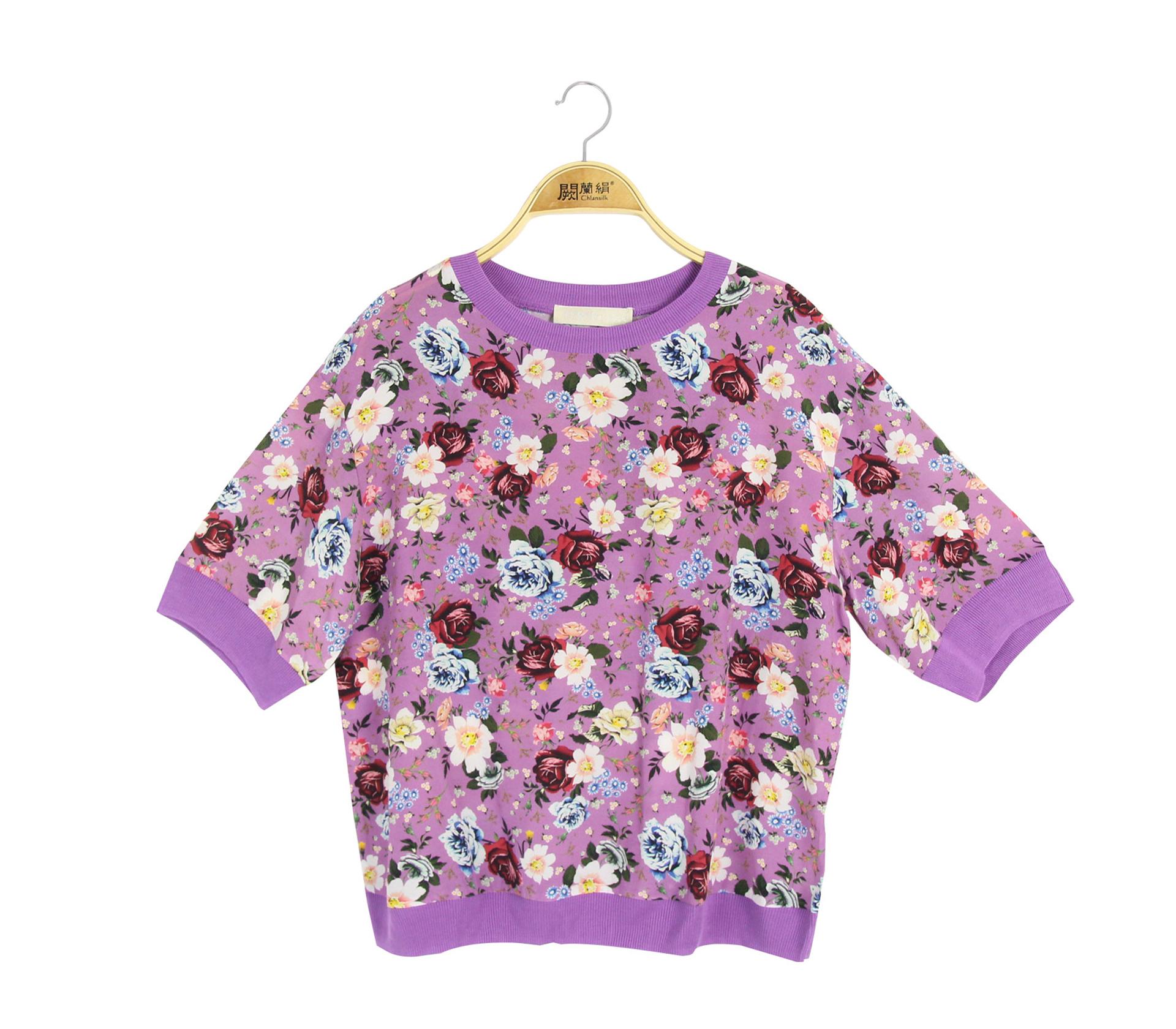闕蘭絹繽紛花朵100%蠶絲雪紡上衣 - 紫色 - 68106