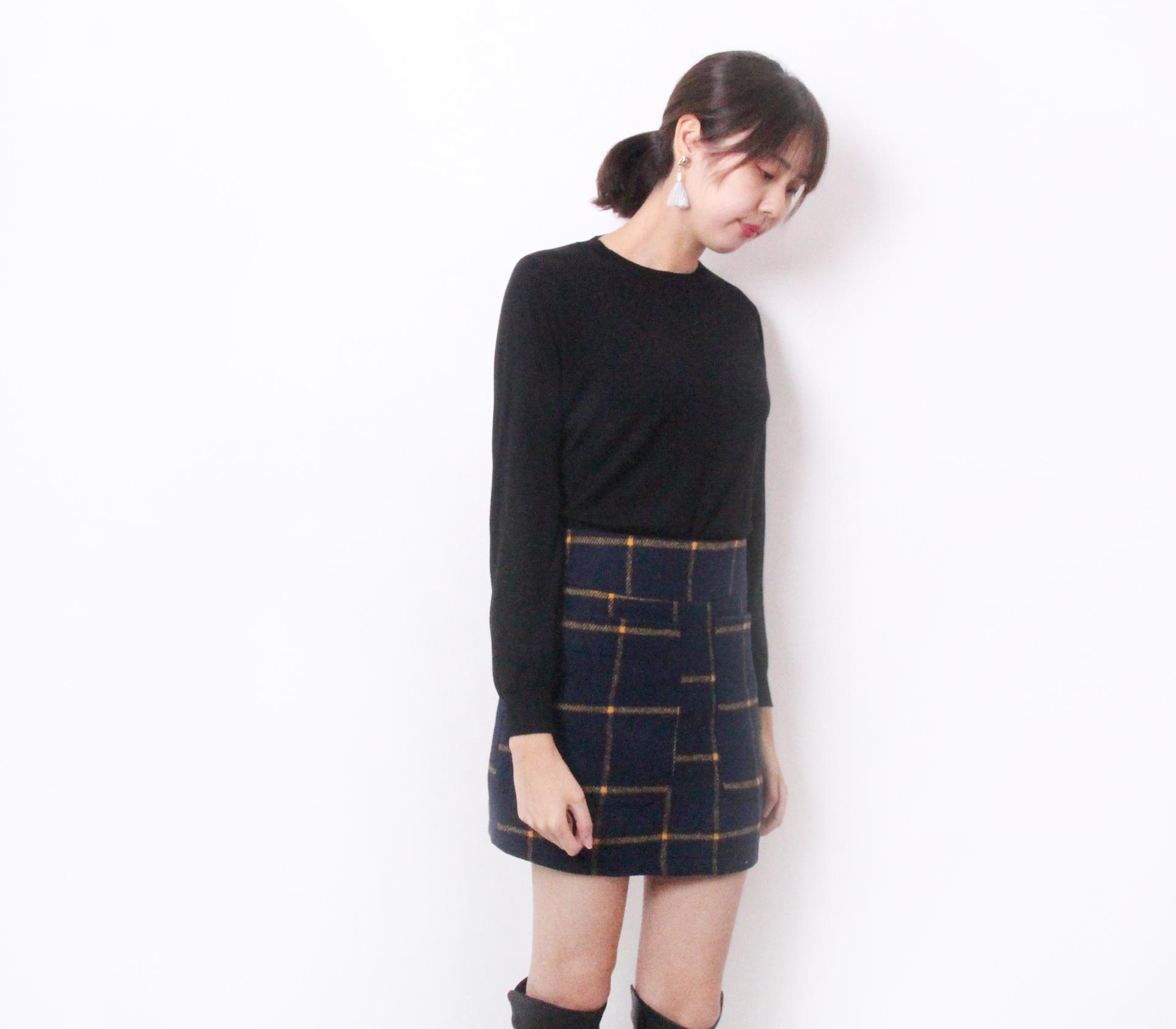 闕蘭絹首款喀什米爾羊毛針織上衣-黑色-6811