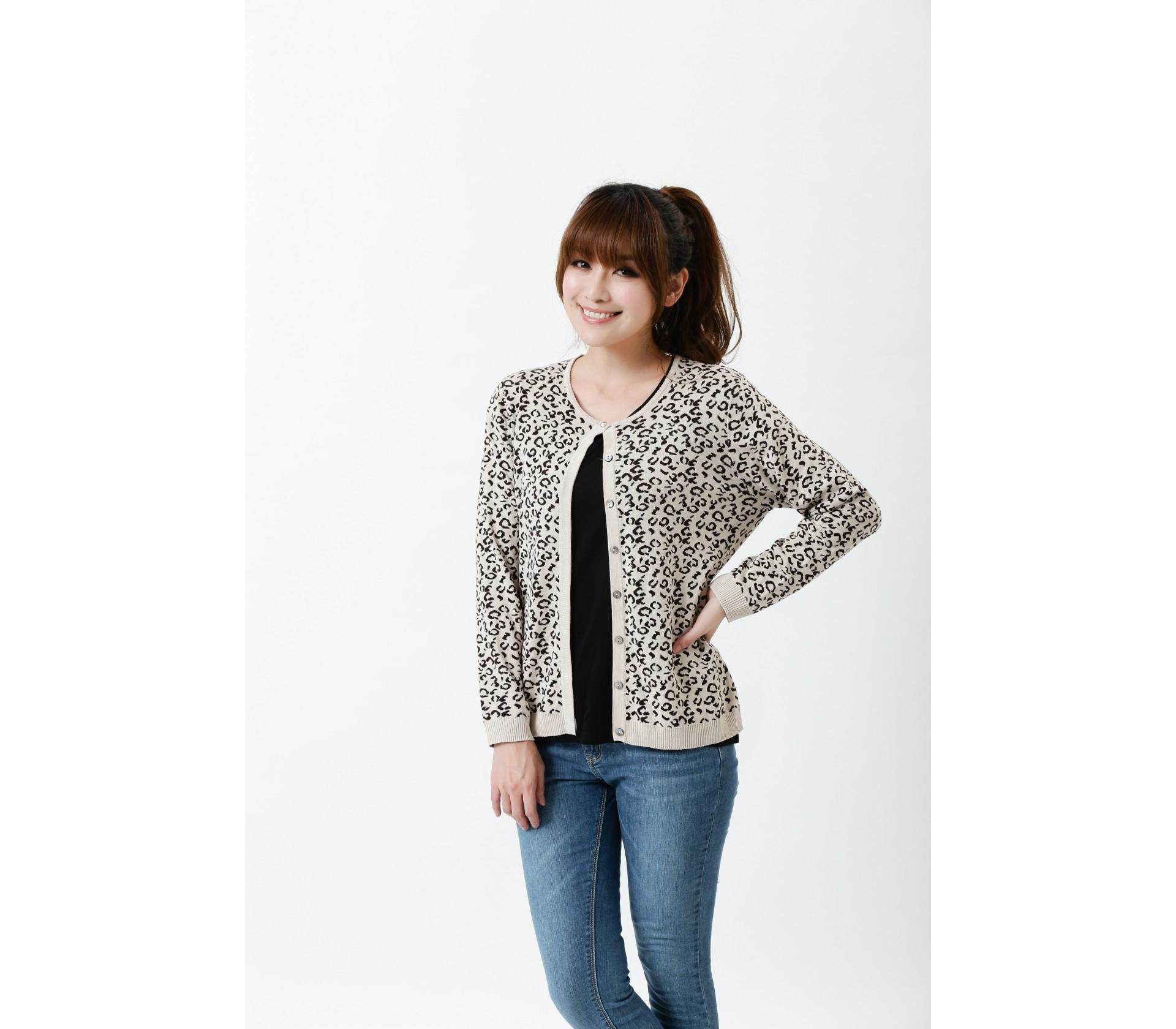 【Royal Silk】雋永名精品厚磅蠶絲針織豹紋外套-7706