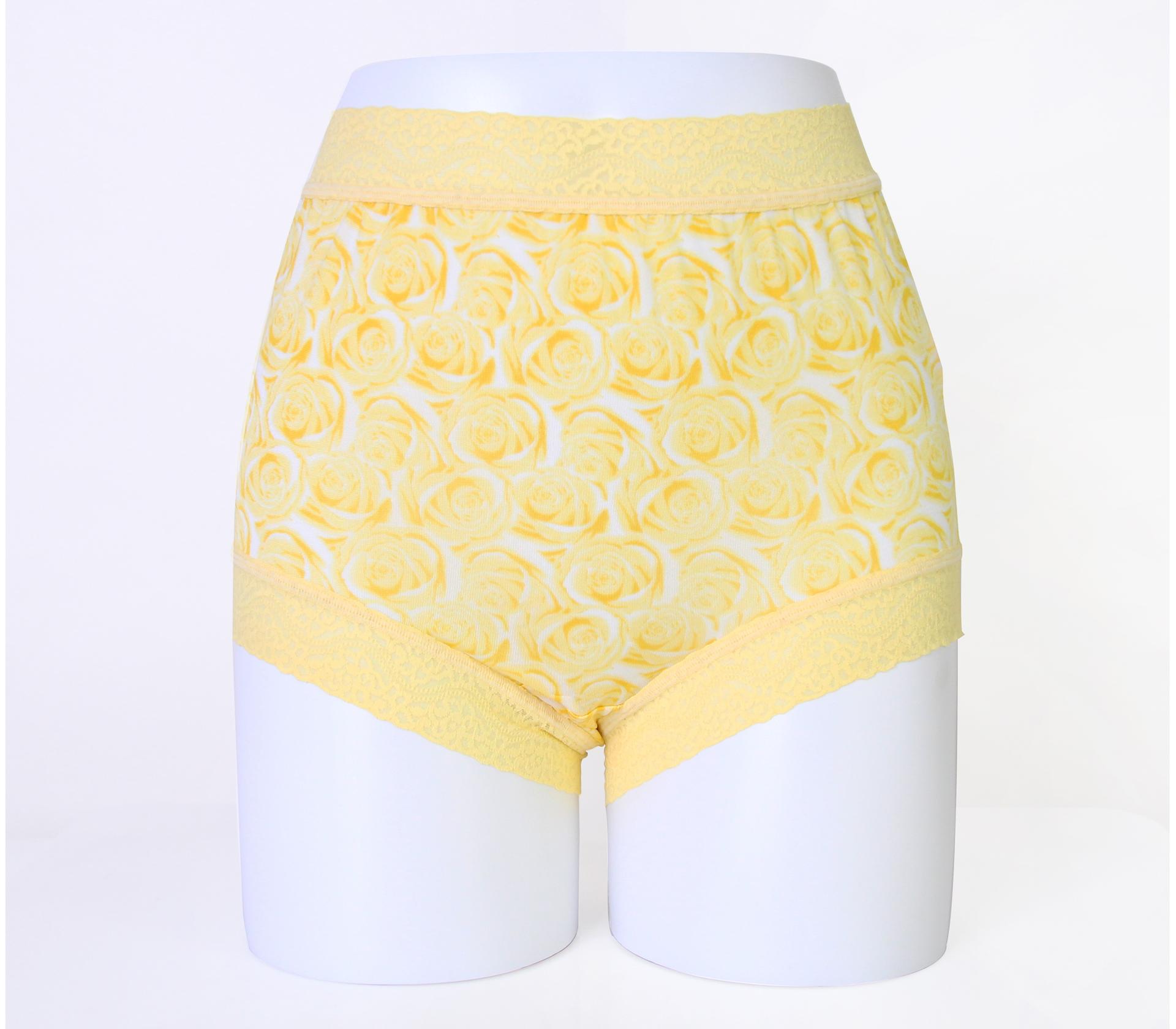 闕蘭絹經典薔薇100%蠶絲內褲-88104-1(黃)