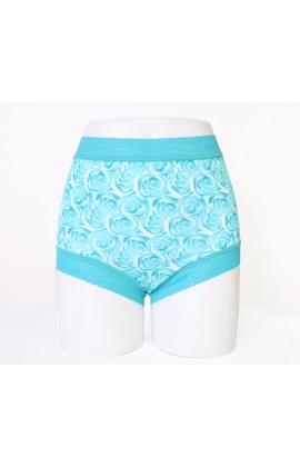 闕蘭絹經典薔薇100%蠶絲內褲-88104-1(藍綠)