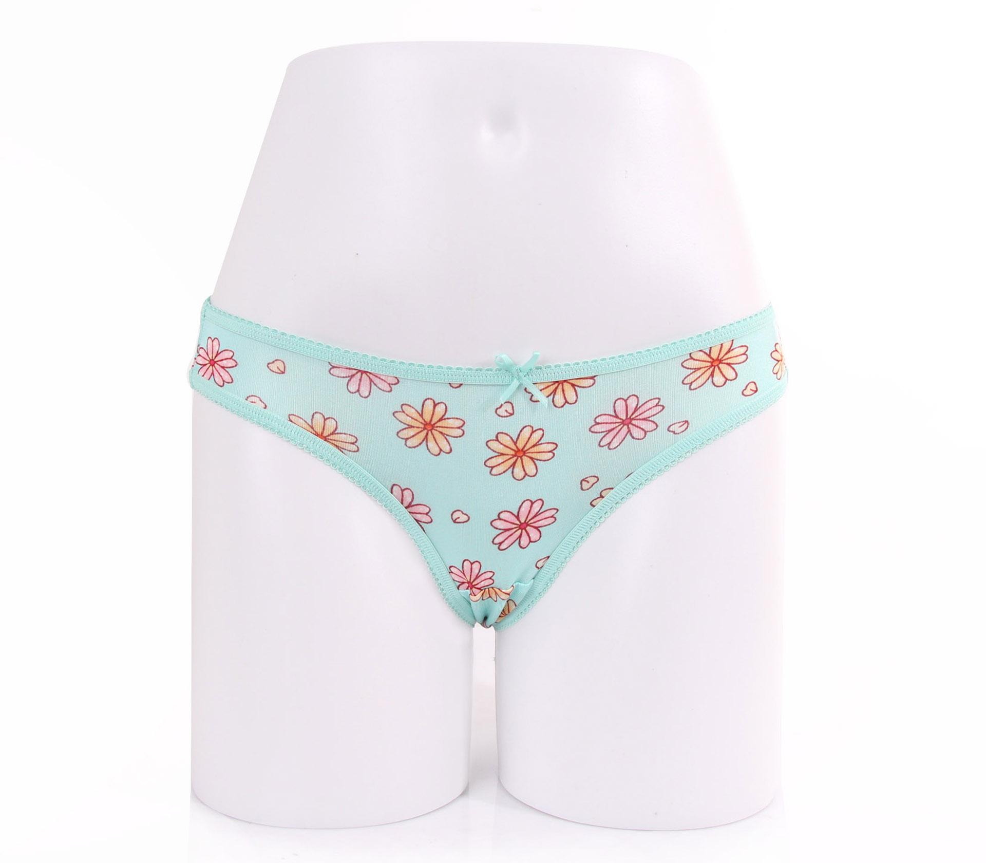 闕蘭絹粉嫩花朵100%蠶絲內褲-88113-1(綠)