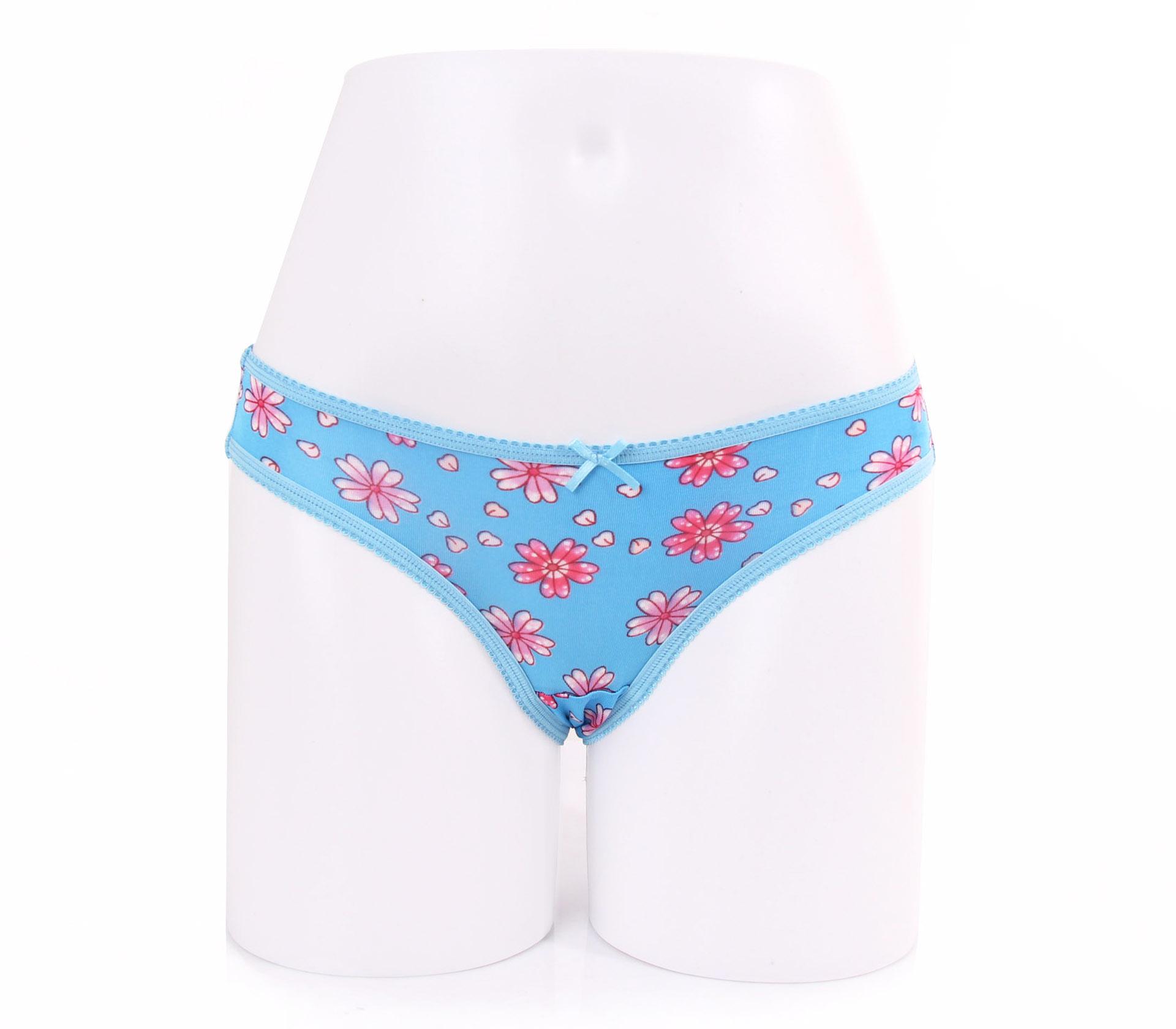 闕蘭絹粉嫩花朵100%蠶絲內褲-88113-1(藍)