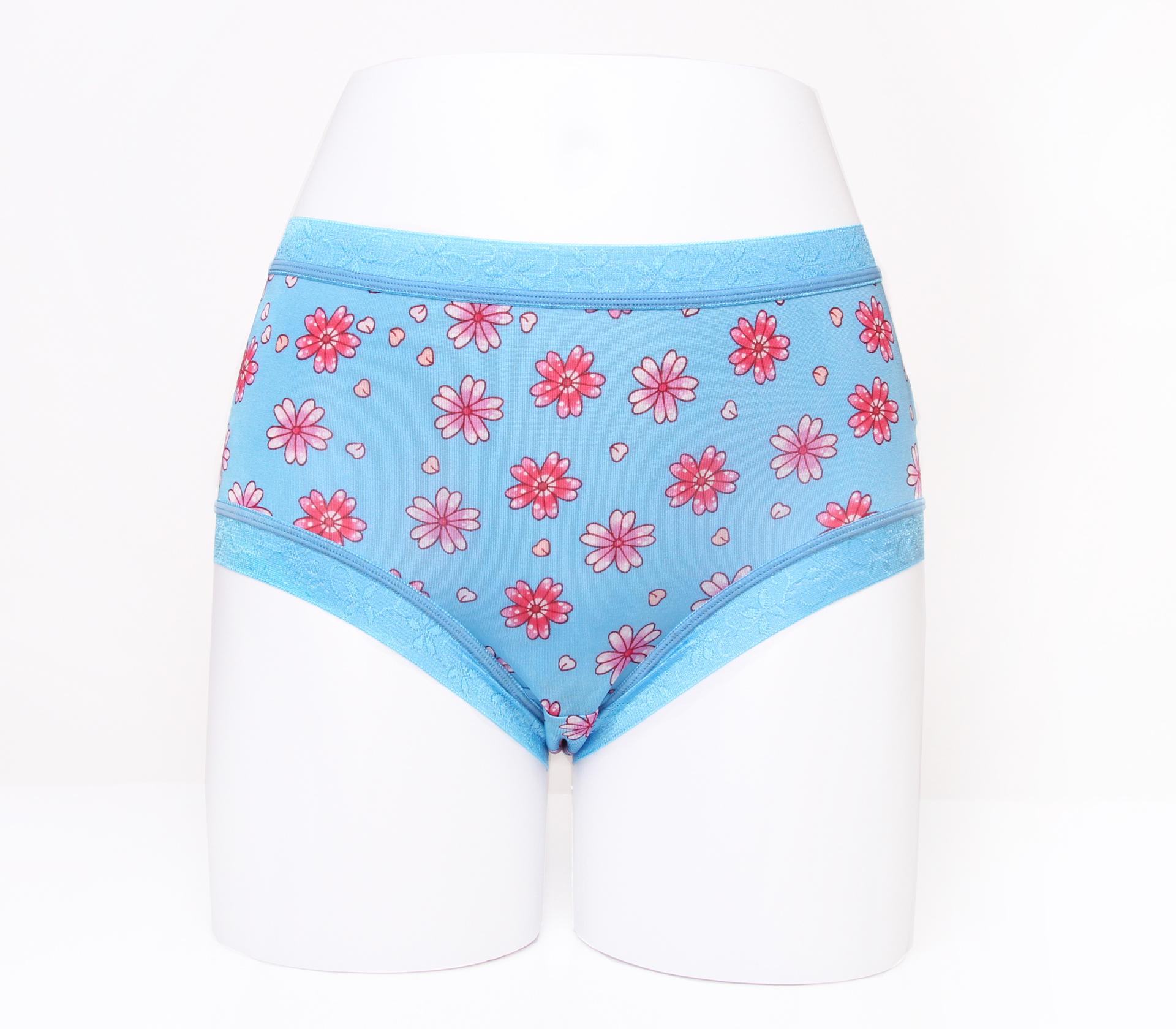 闕蘭絹滿滿花朵100%蠶絲內褲-88113(藍)