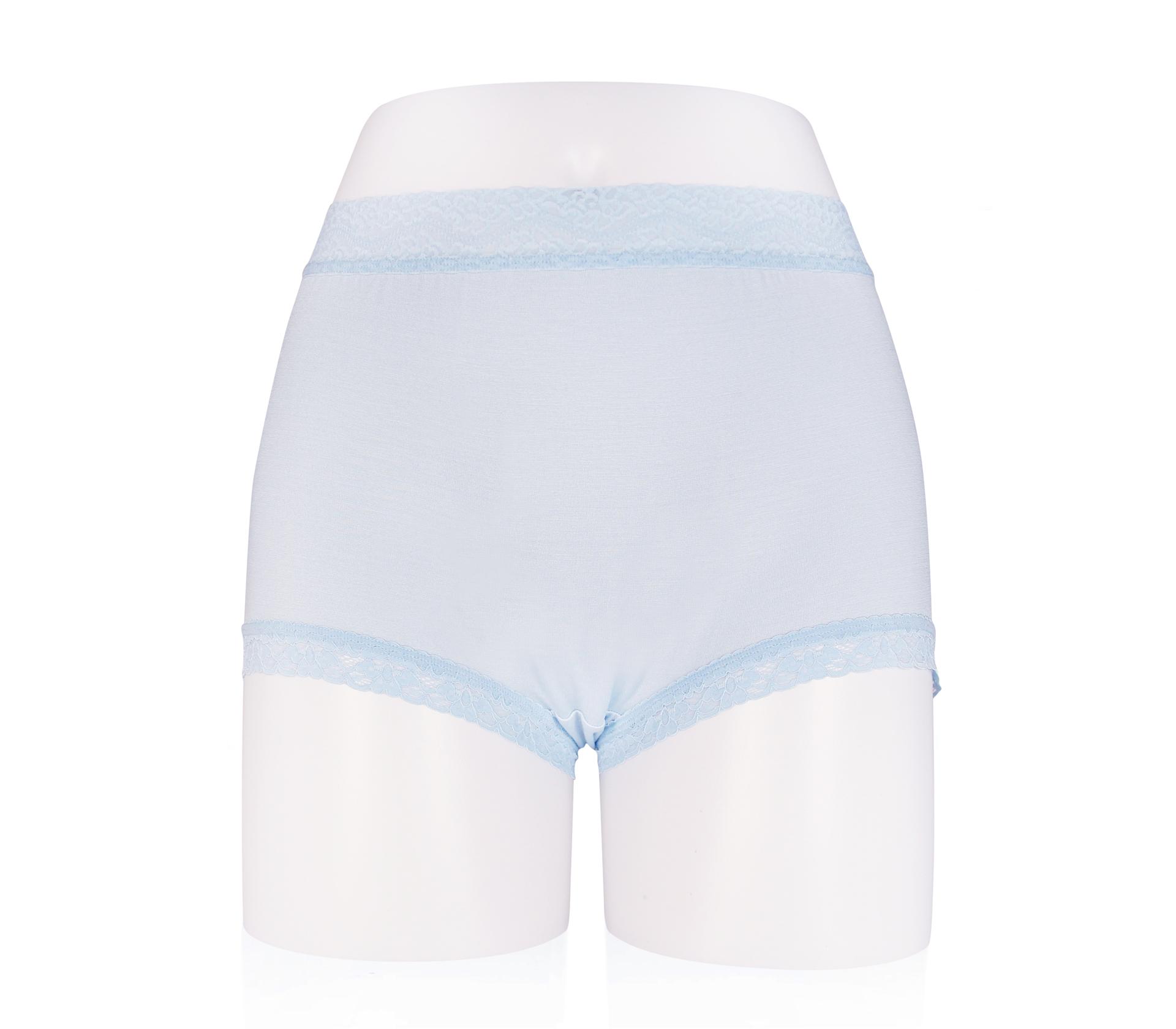 闕蘭絹中腰粉嫩親膚100%蠶絲平口褲 - 88118 (藍色)