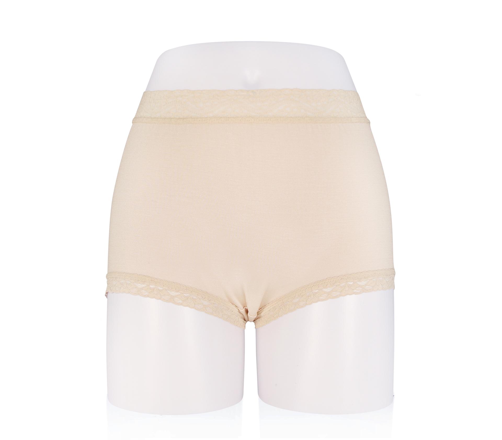 闕蘭絹中腰粉嫩親膚100%蠶絲平口褲 - 88118 (膚色)