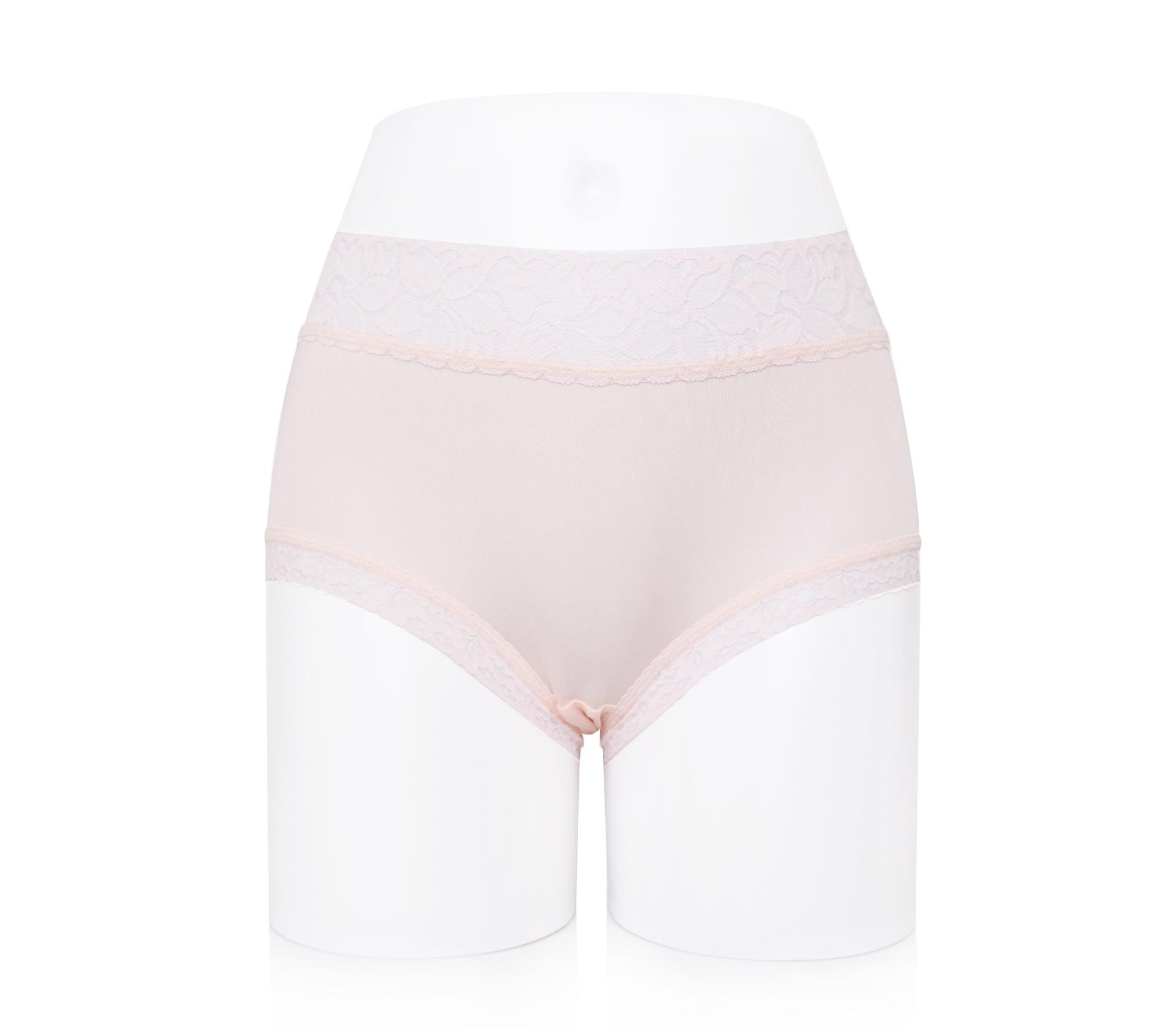 闕蘭絹氣質花瓣蕾絲100%蠶絲內褲-8834 (淺粉)