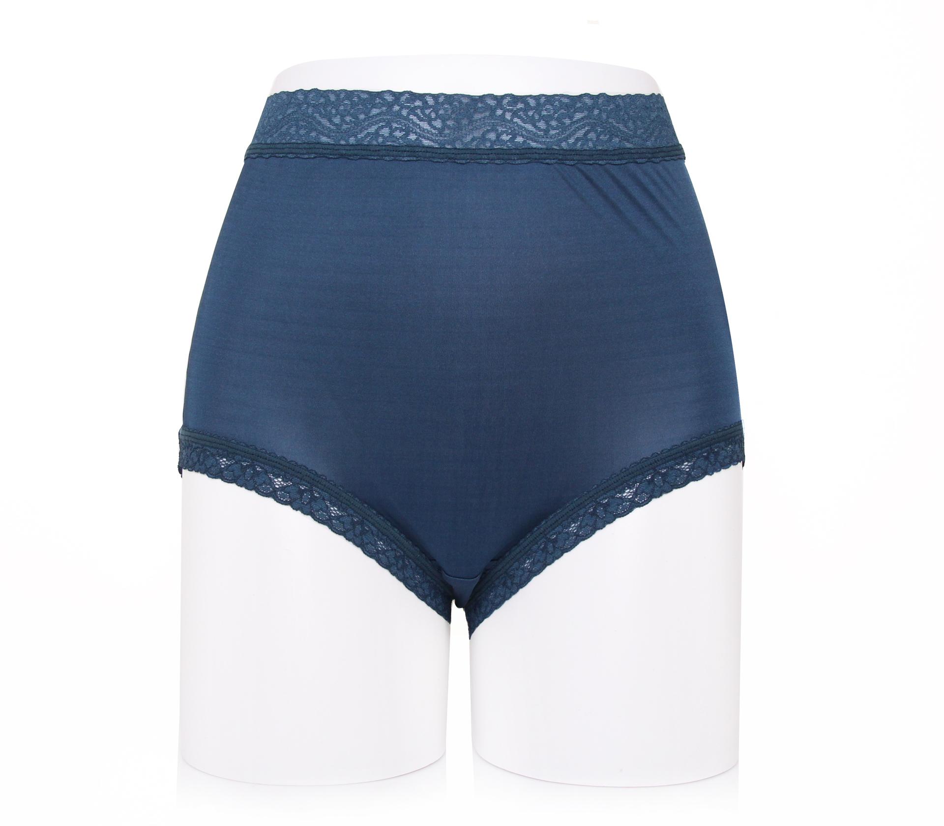 闕蘭絹42針『超高腰』素面氣質100%蠶絲內褲-88425 (深藍)
