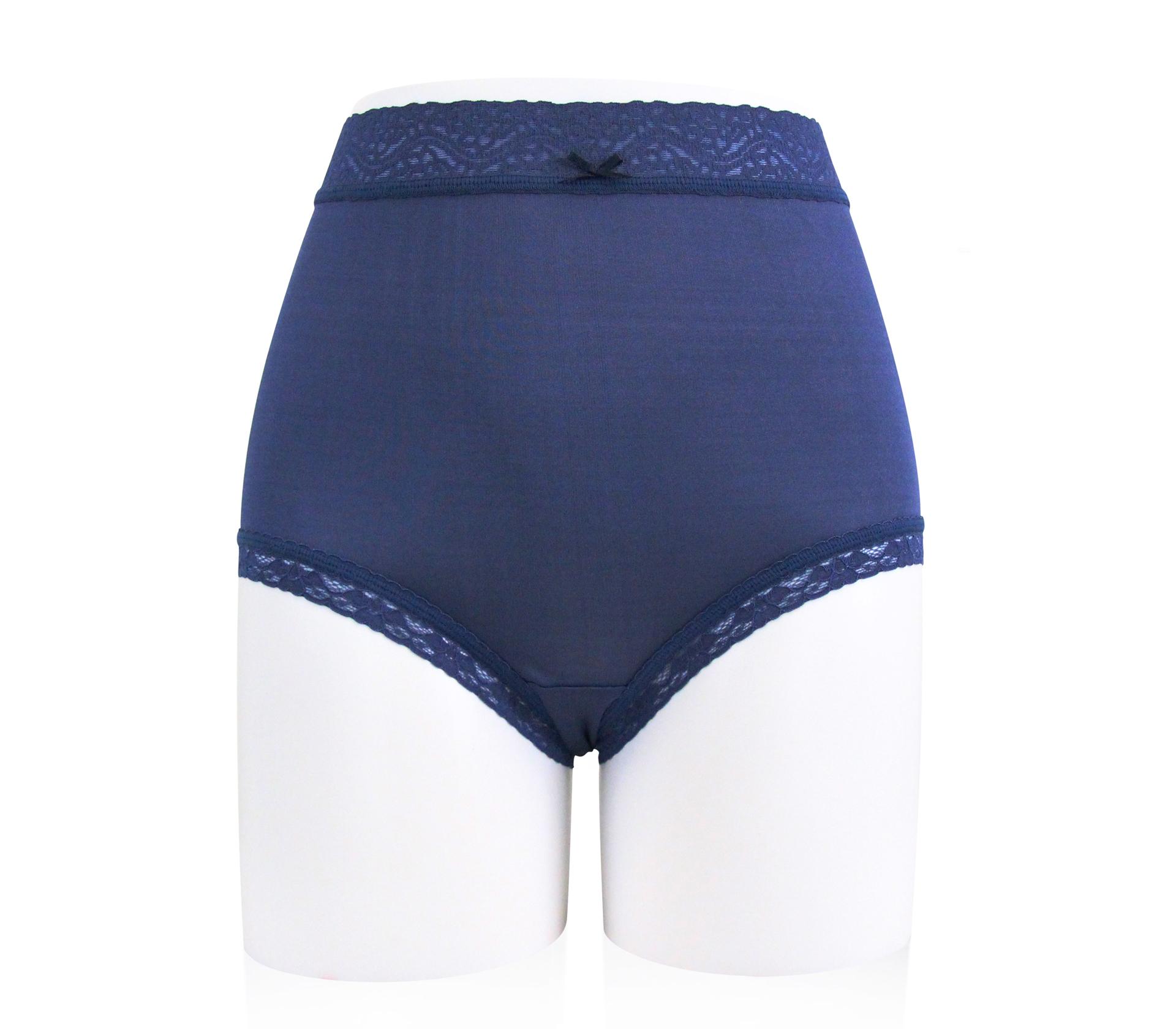 闕蘭絹42針高腰親膚包臀100%蠶絲內褲 - 88427 (深藍色)