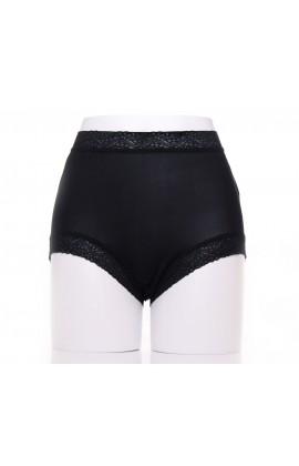 闕蘭絹典雅美人頂級40針『超高腰』包覆100%蠶絲內褲-8796(黑)