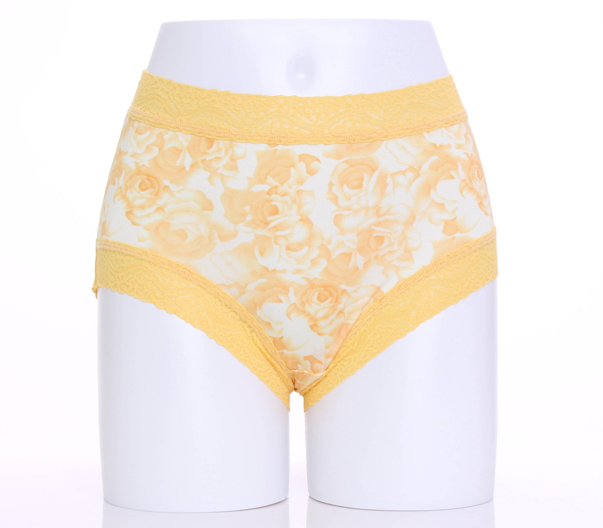 闕蘭絹貴氣牡丹100%蠶絲內褲-884(黃)