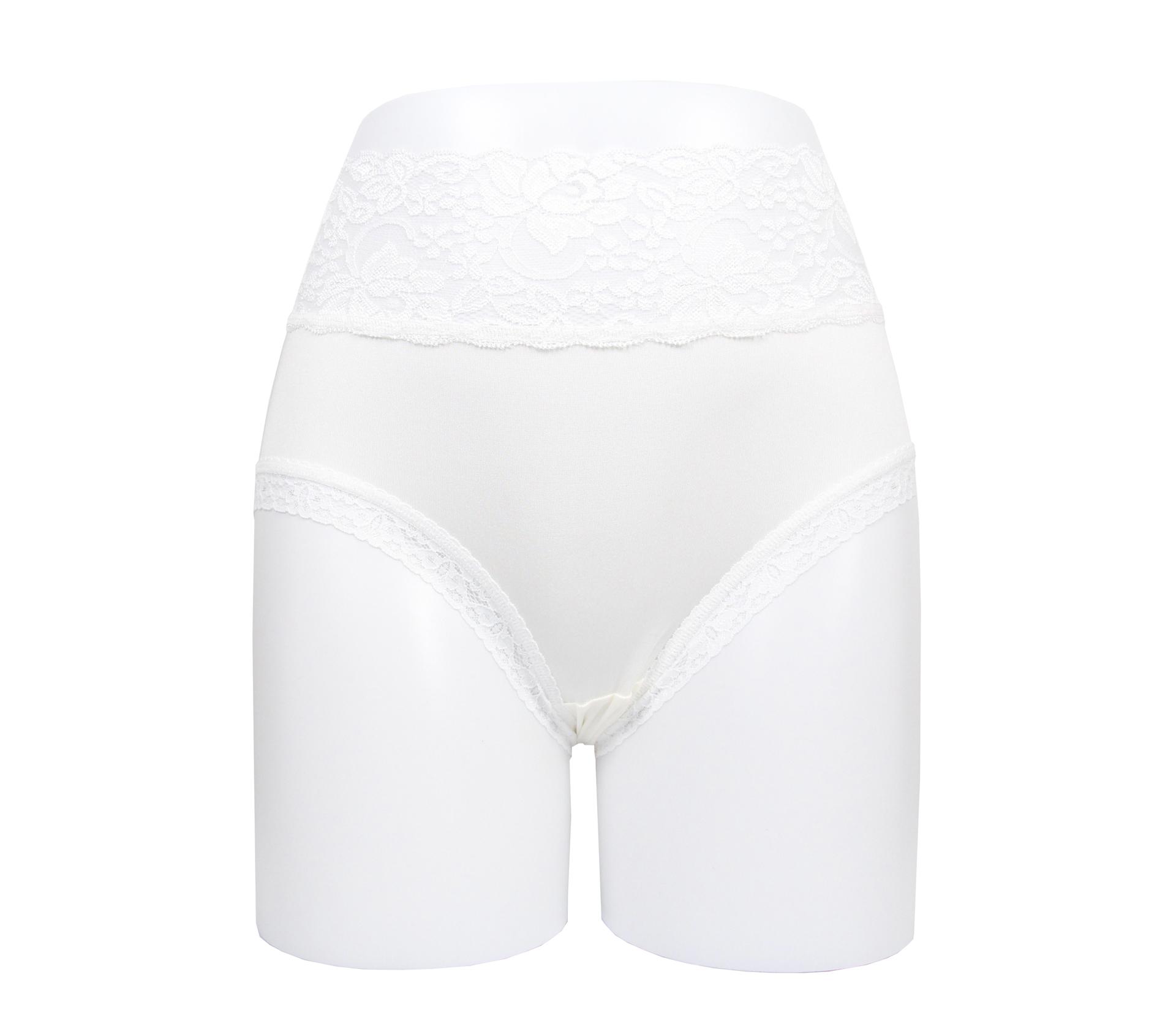 闕蘭絹花朵蕾絲100%蠶絲內褲 - 88909 (白)