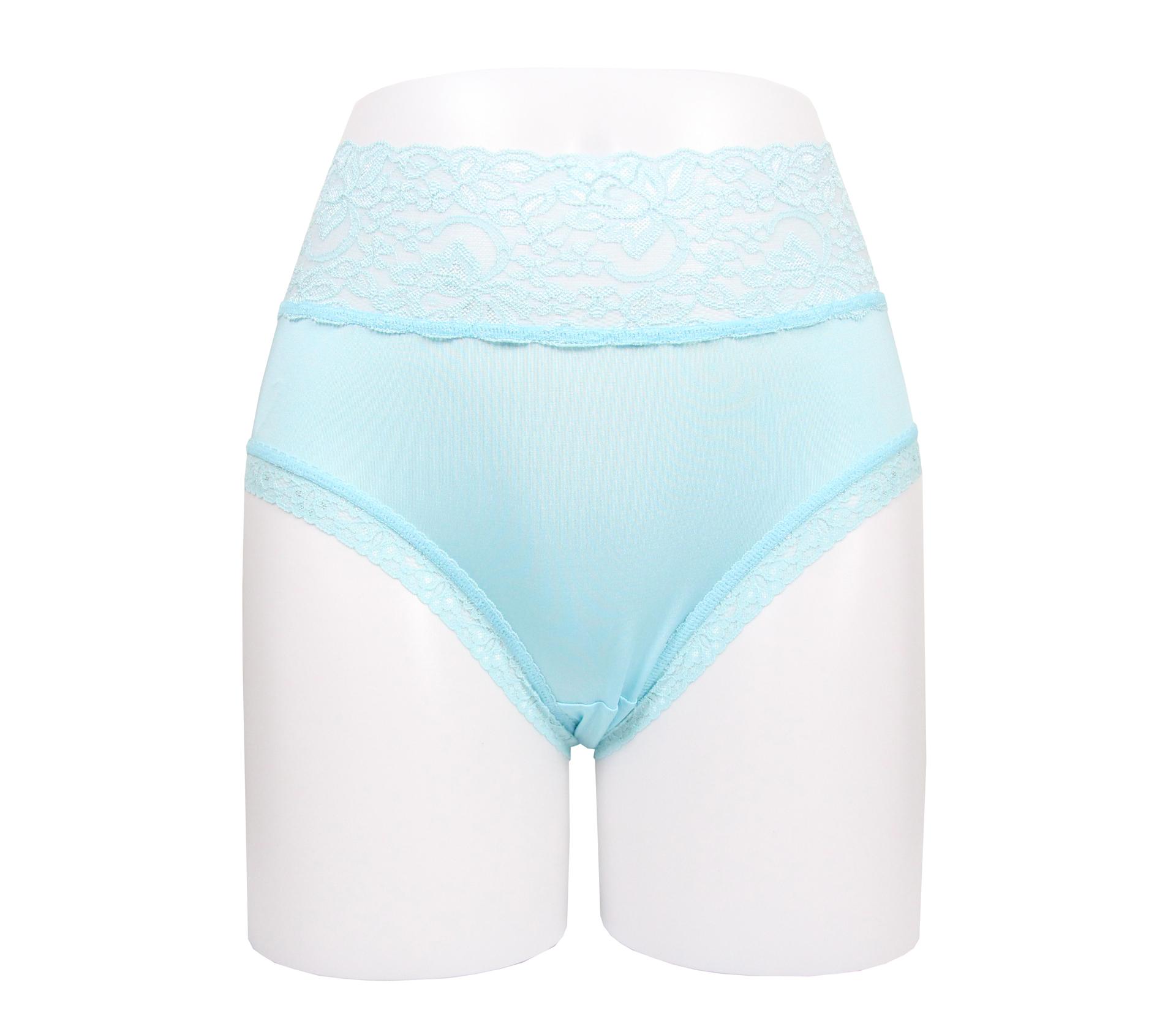 闕蘭絹花朵蕾絲100%蠶絲內褲 - 88909 (藍)