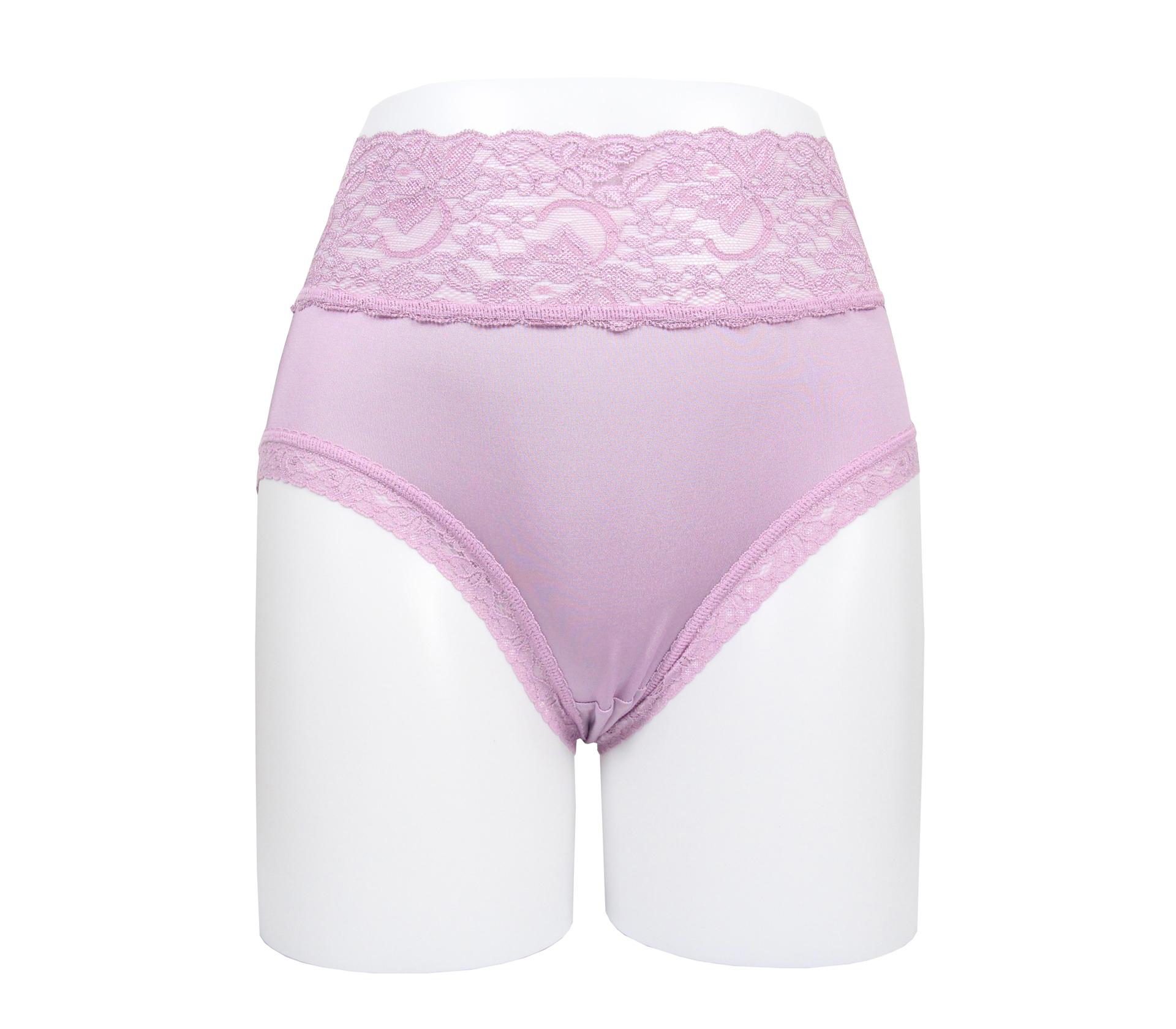 闕蘭絹花朵蕾絲100%蠶絲內褲 - 88909 (紫)