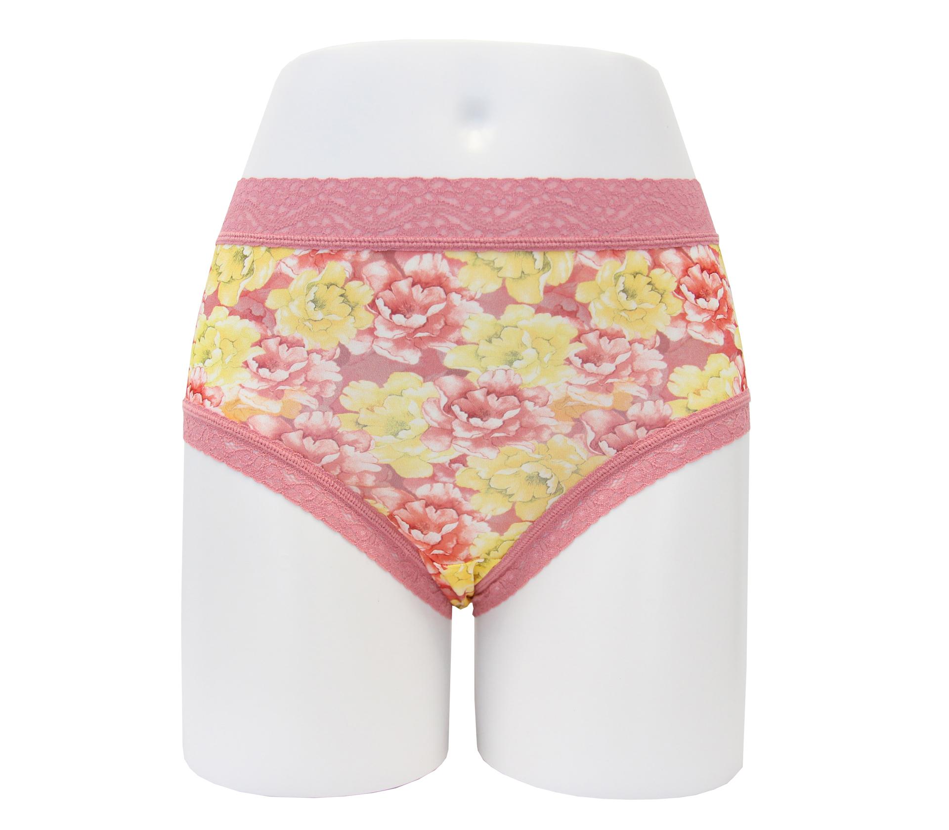 闕蘭絹富貴牡丹30針100%蠶絲內褲 - 88912(粉)