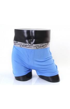 闕蘭絹100%蠶絲舒適透氣四角平口褲-88993-1(藍)