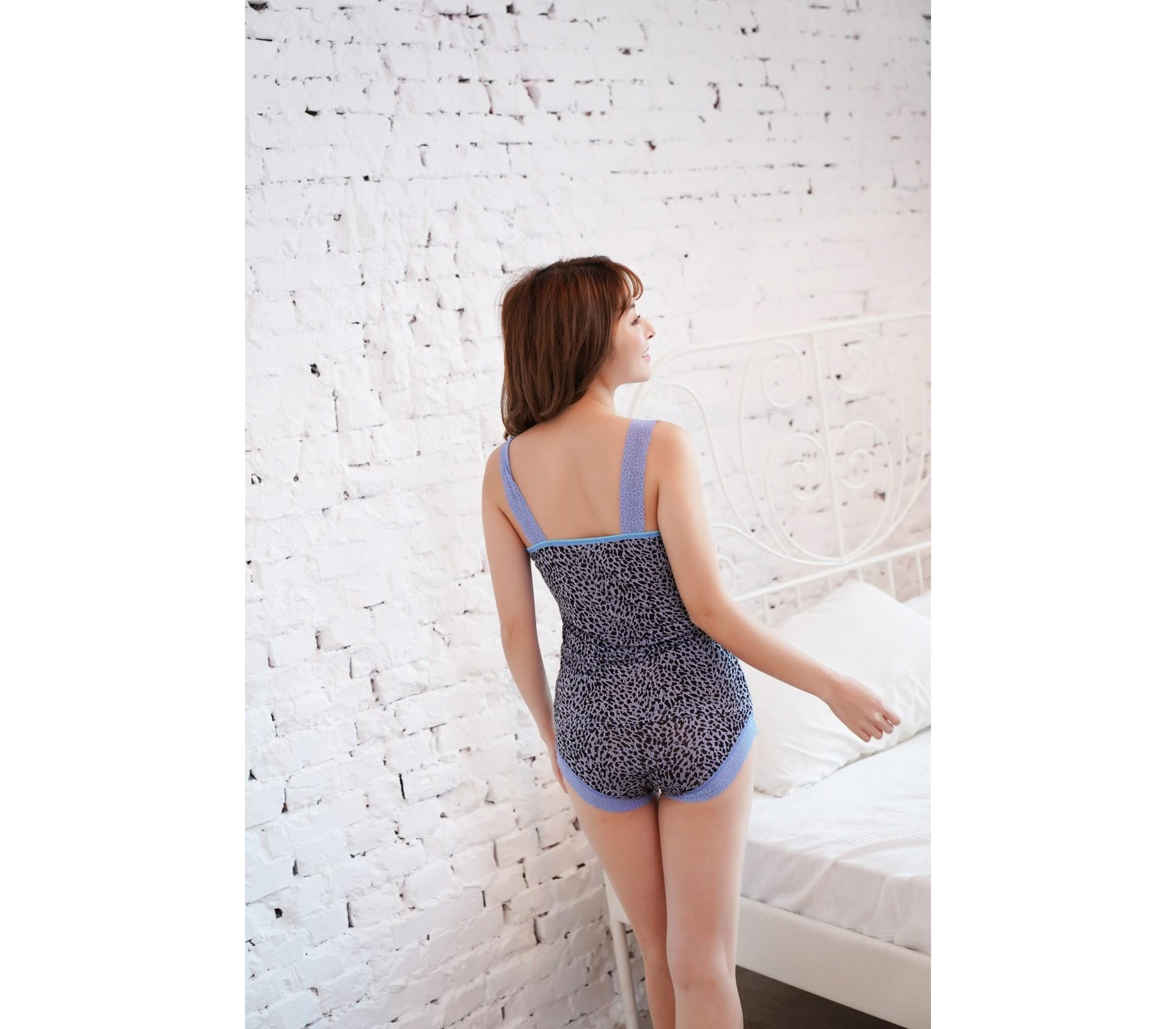 親膚美型豹紋100%蠶絲套裝-9910-2(藍)