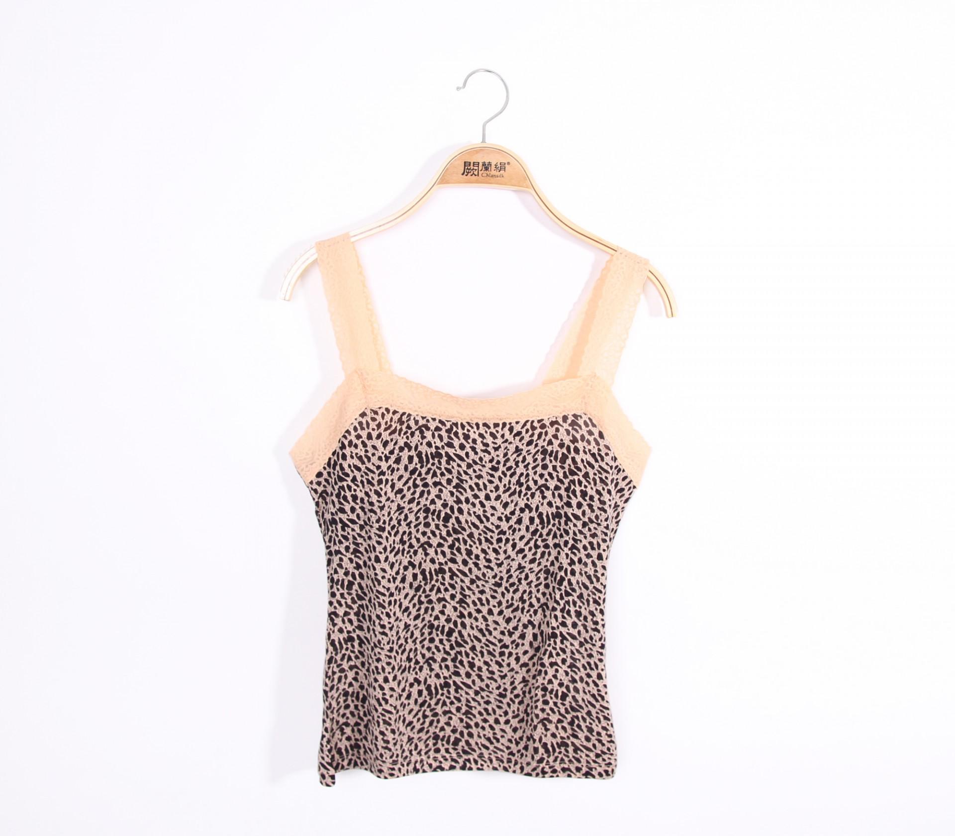 闕蘭絹親膚美型豹紋100%蠶絲背心-9910-2(卡其)