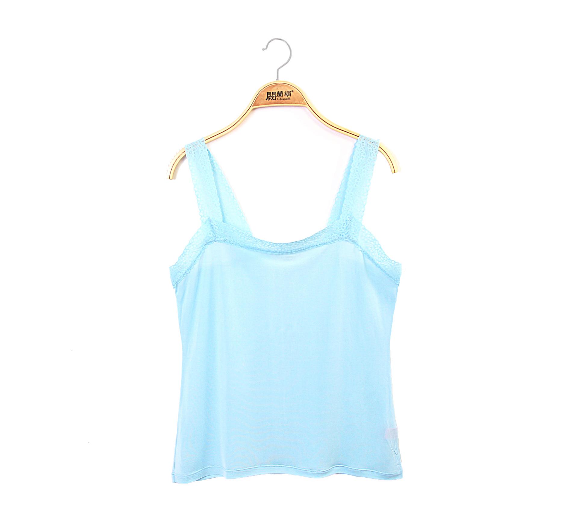 闕蘭絹親膚舒適100%蠶絲背心-9910(藍)
