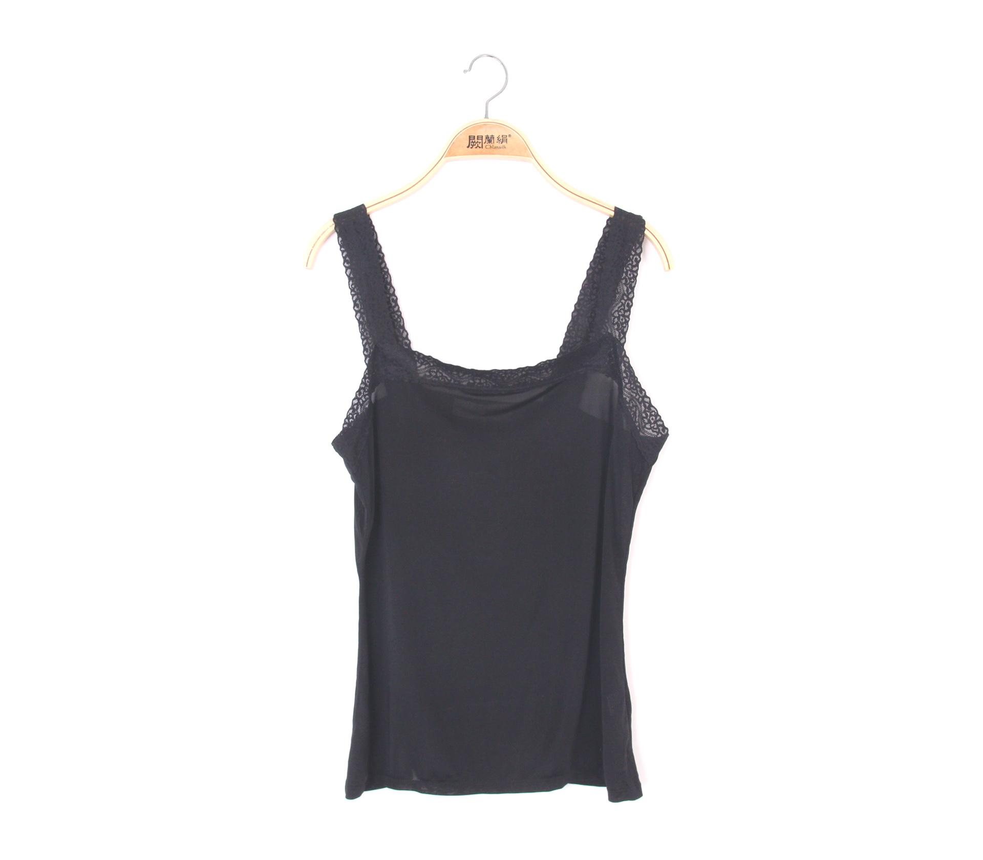 闕蘭絹親膚舒適100%蠶絲背心-9910(黑)