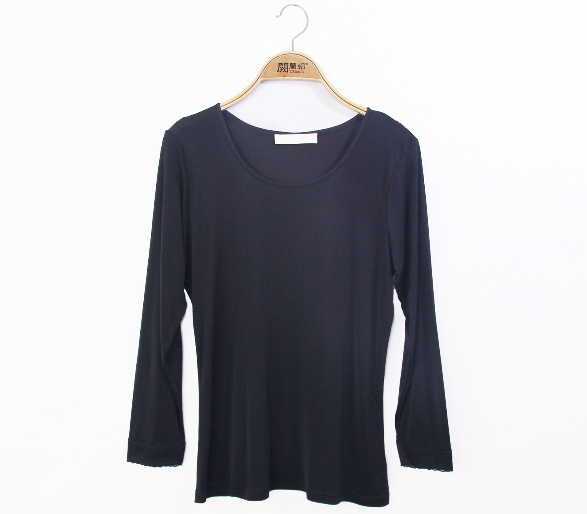 闕蘭絹親膚細緻頂級42針100%蠶絲保暖衣-9911(黑)