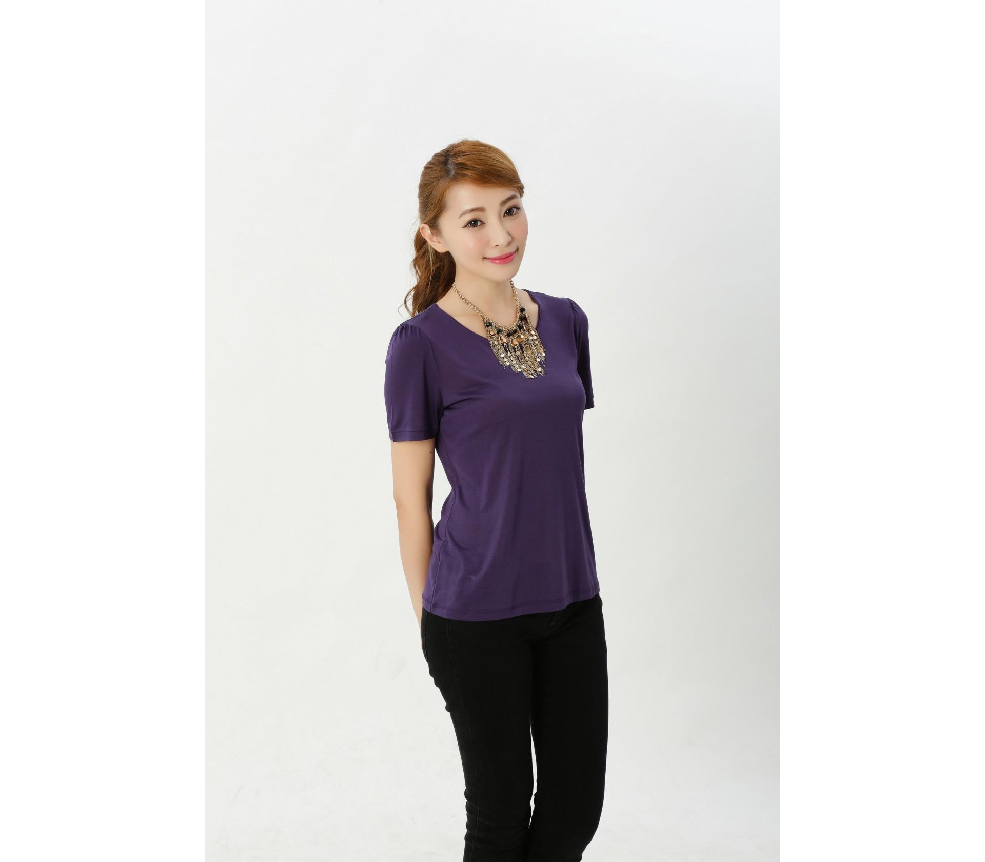 闕蘭絹精品簡約100%蠶絲上衣-915(藍紫)