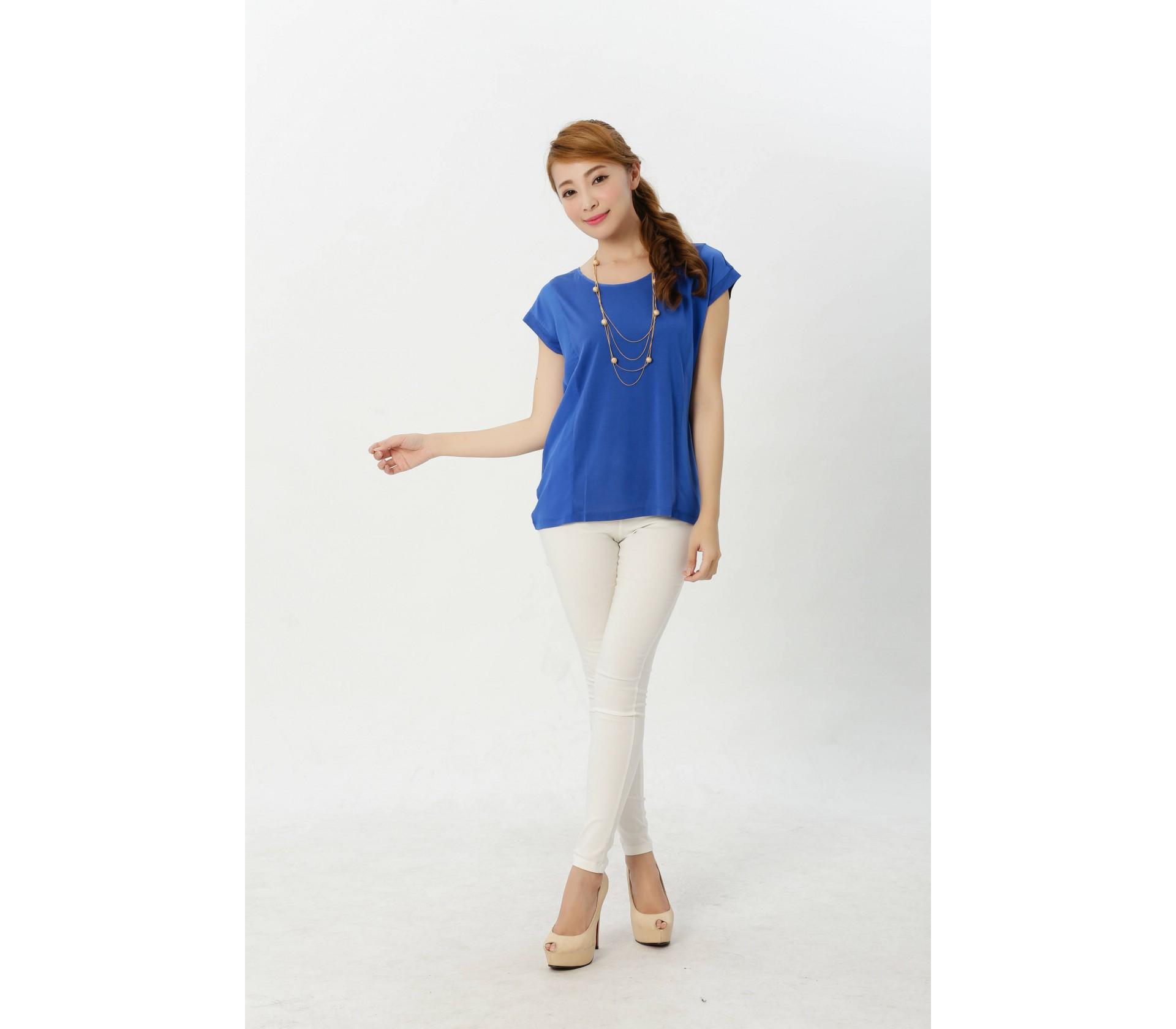 闕蘭絹精緻典雅100%蠶絲拼接雪紡上衣-916(藍)