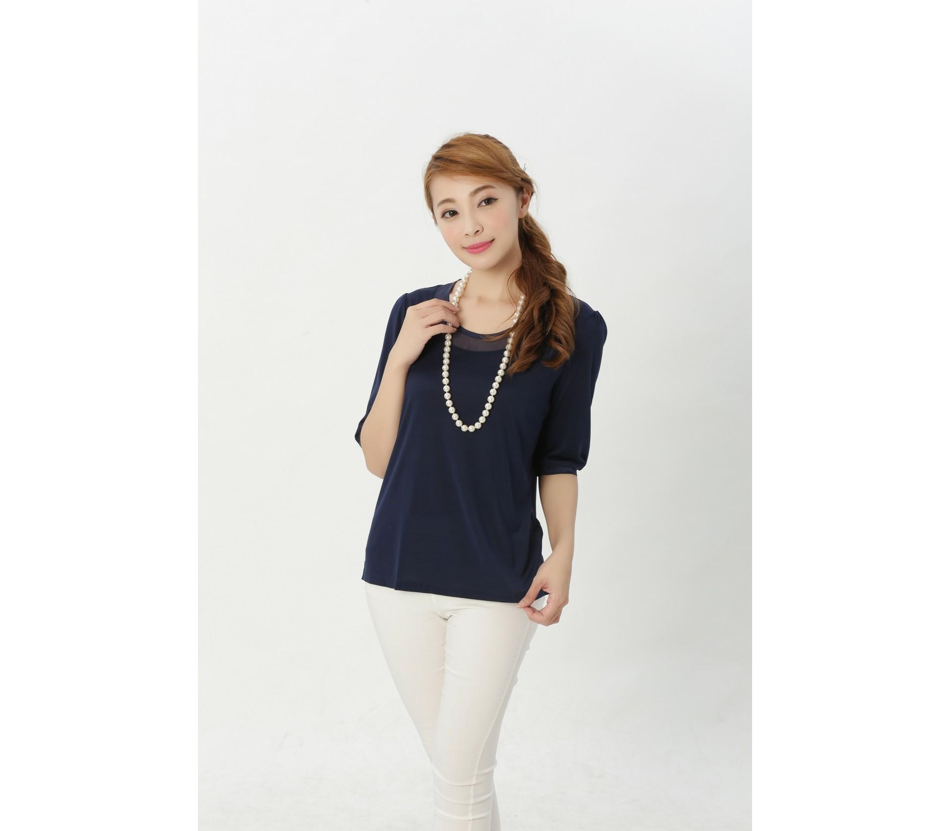 闕蘭絹典雅氣質100%蠶絲透氣上衣-917(藍)