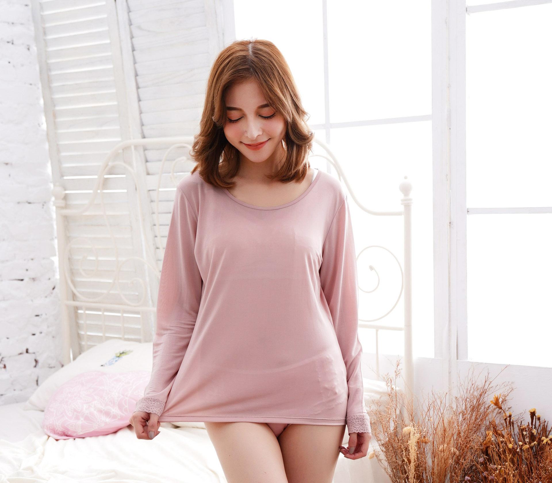 素面長袖32針蠶絲衣-粉色-9920