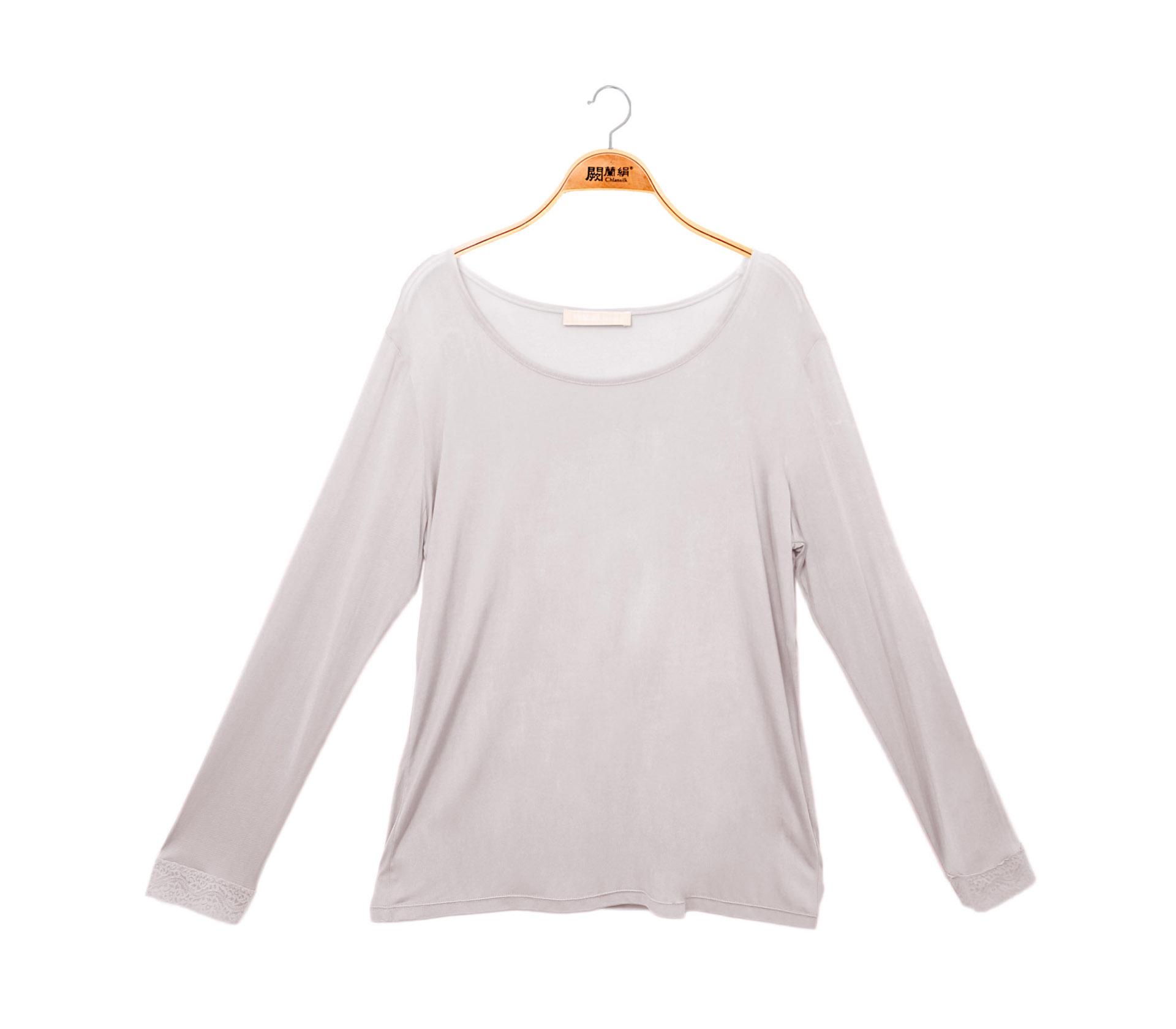 闕蘭絹素面長袖32針100%蠶絲衣-灰色-9920