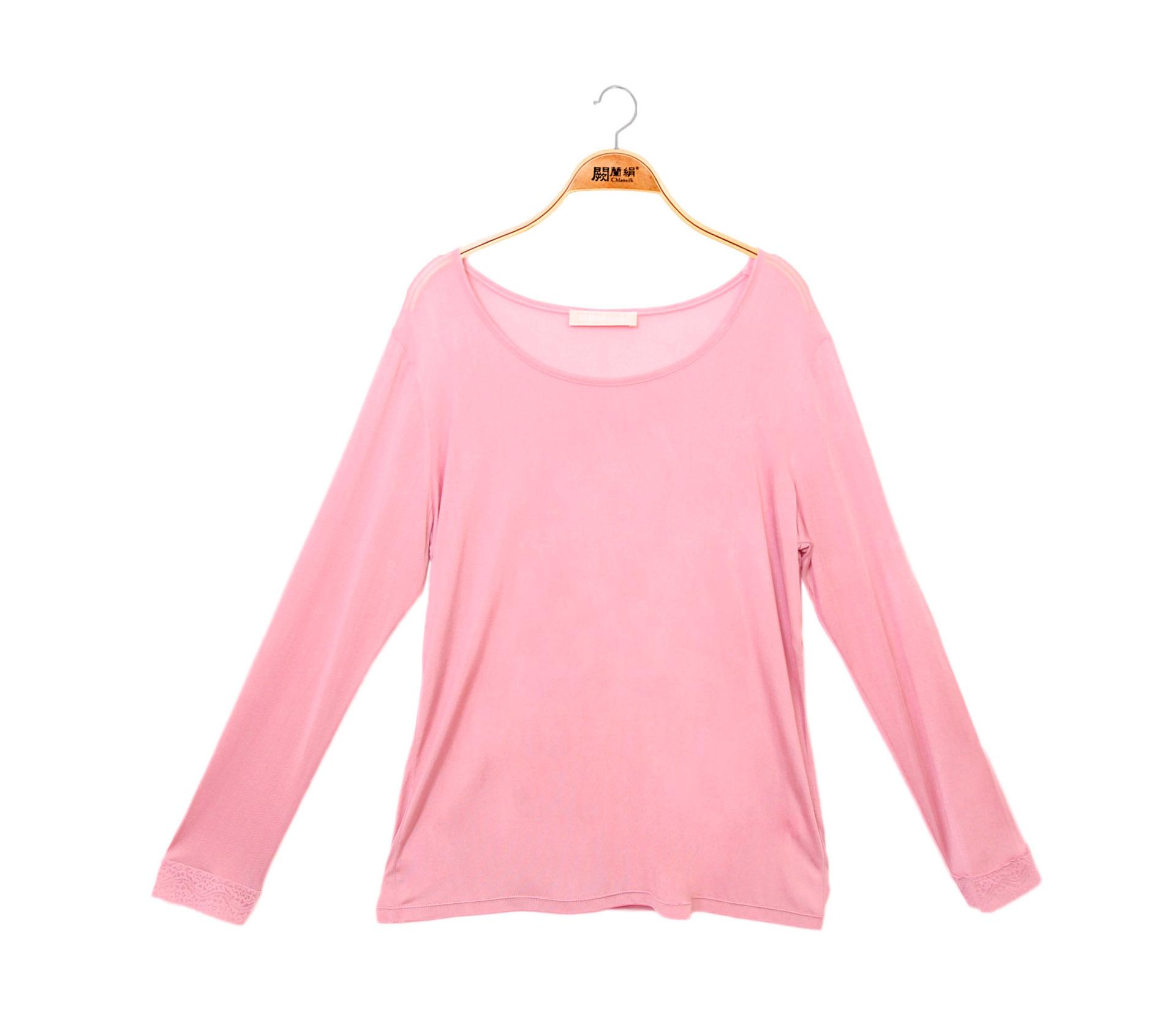 闕蘭絹素面長袖32針100%蠶絲衣-粉色-9920