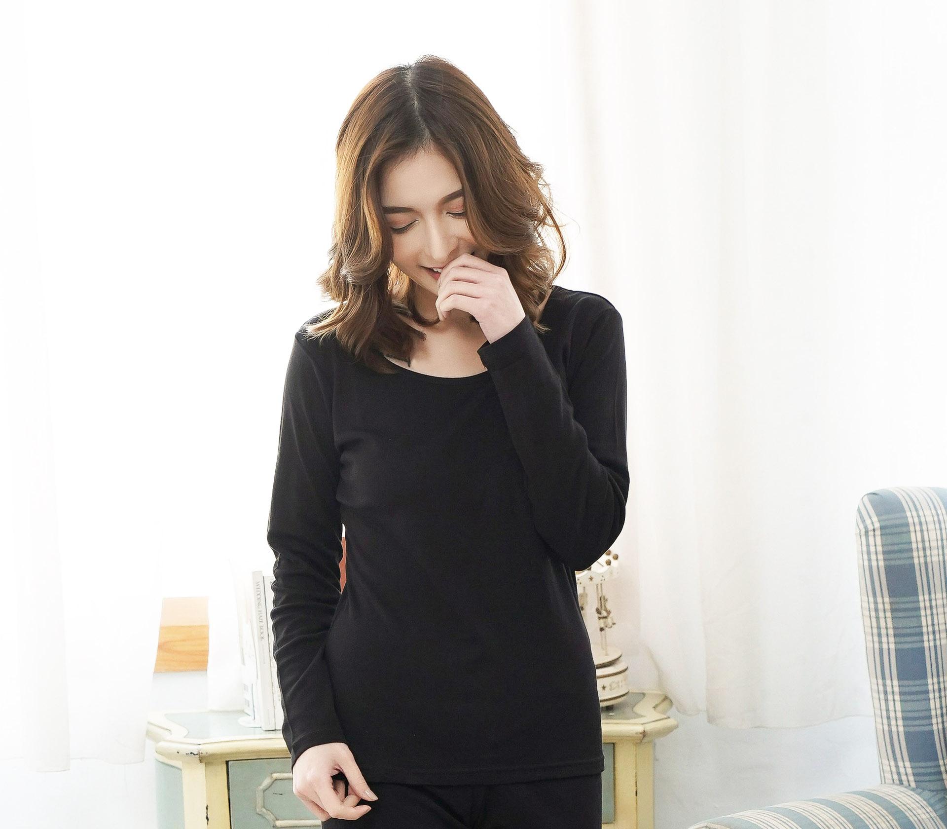 闕蘭絹絲棉長袖衛生衣 - 黑色 - 9922